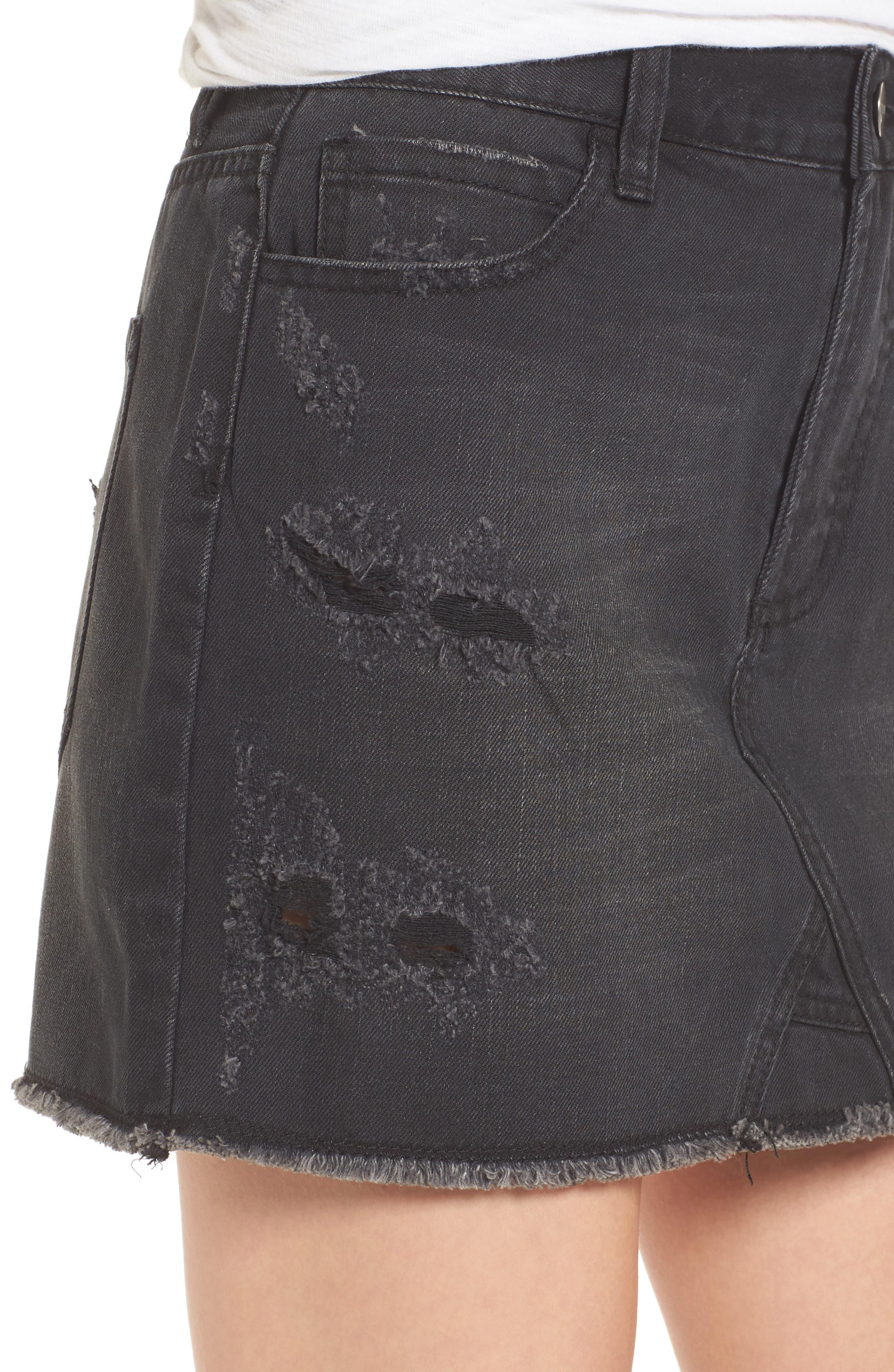 Destroyed Denim Miniskirt,                             Alternate thumbnail 4, color,                             001