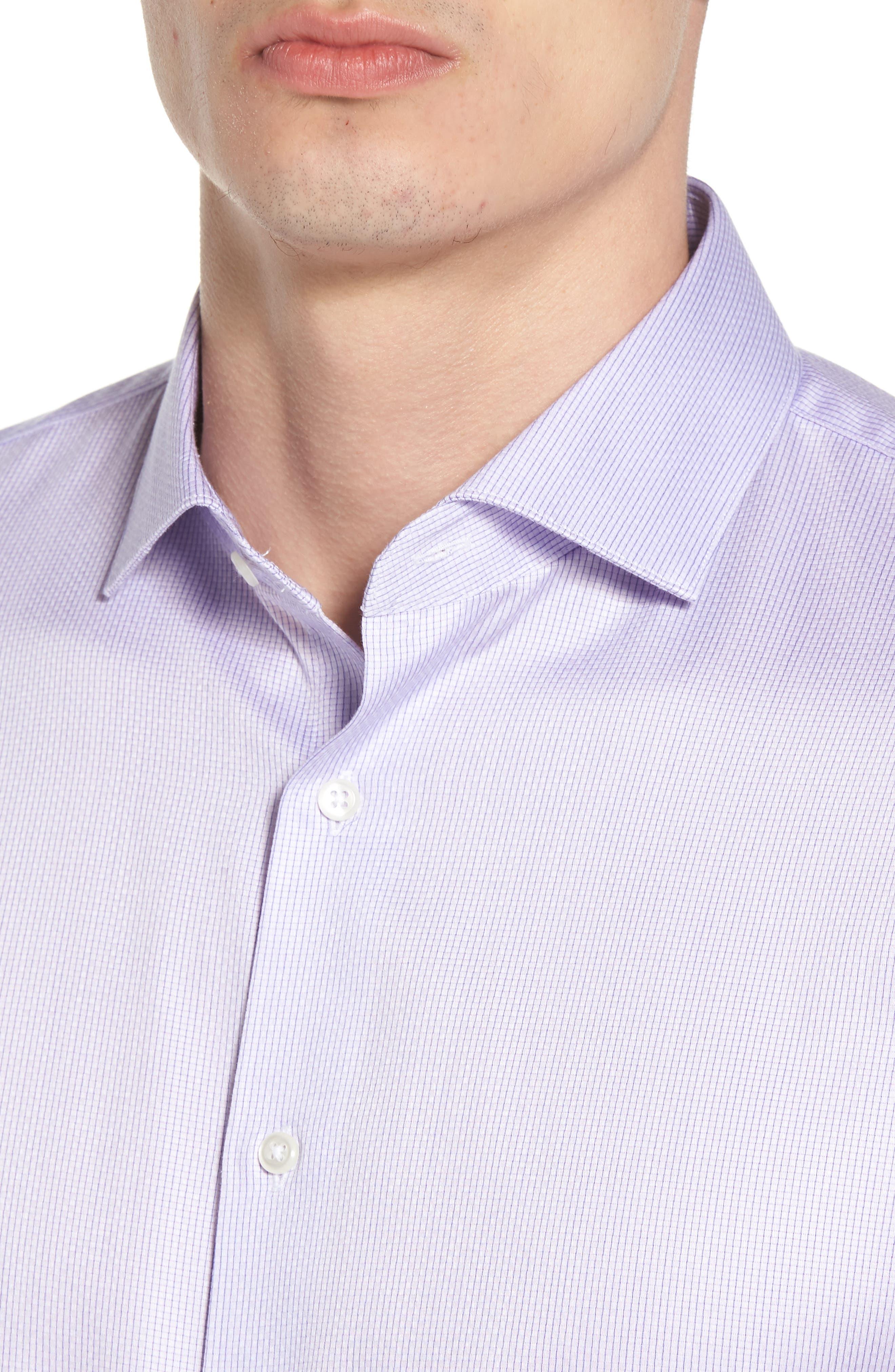 Trim Fit Stripe Dress Shirt,                             Alternate thumbnail 6, color,