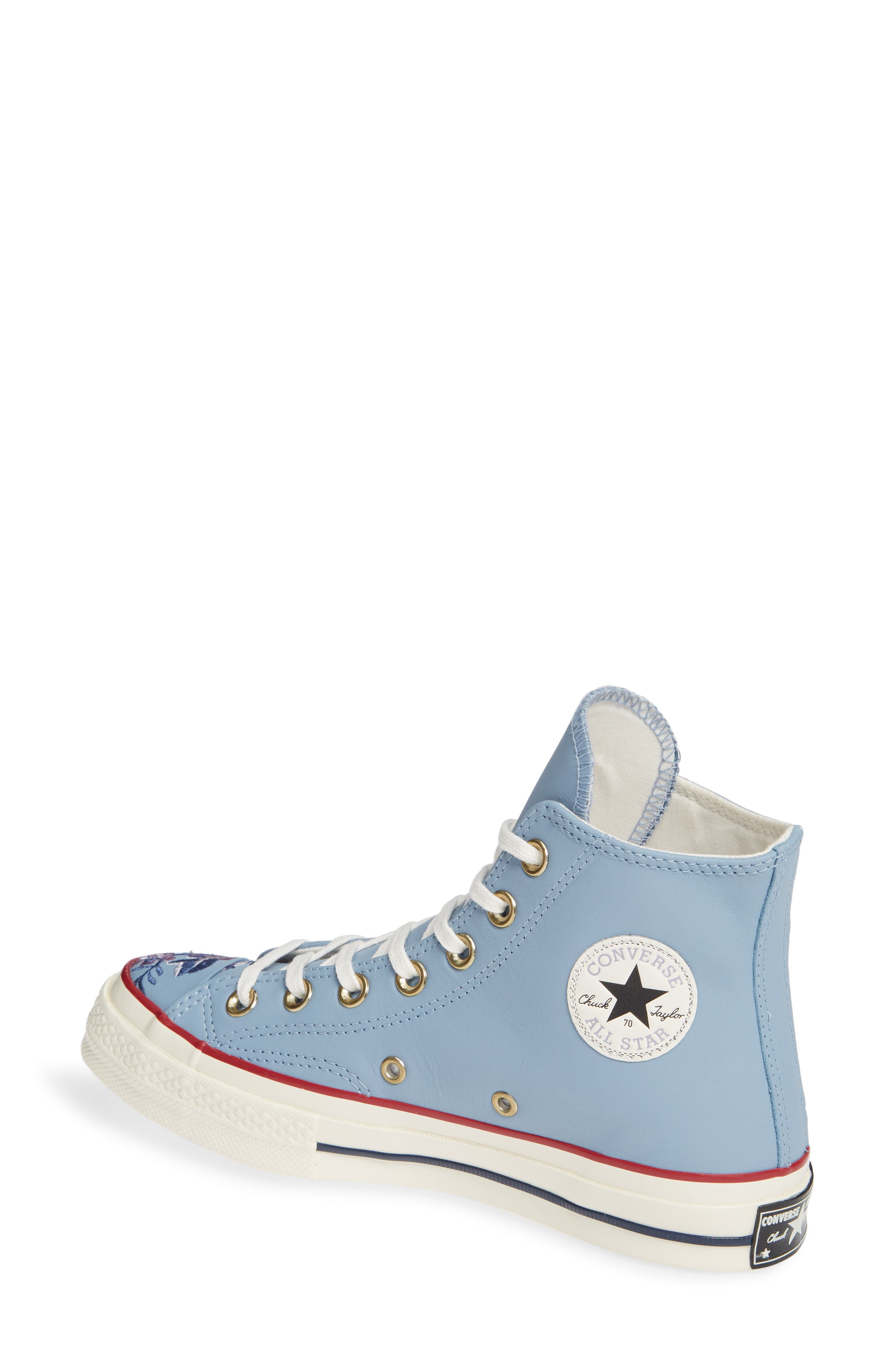 Chuck Taylor<sup>®</sup> All Star<sup>®</sup> Parkway Floral 70 High Top Sneaker,                             Alternate thumbnail 2, color,                             WASHED DENIM LEATHER
