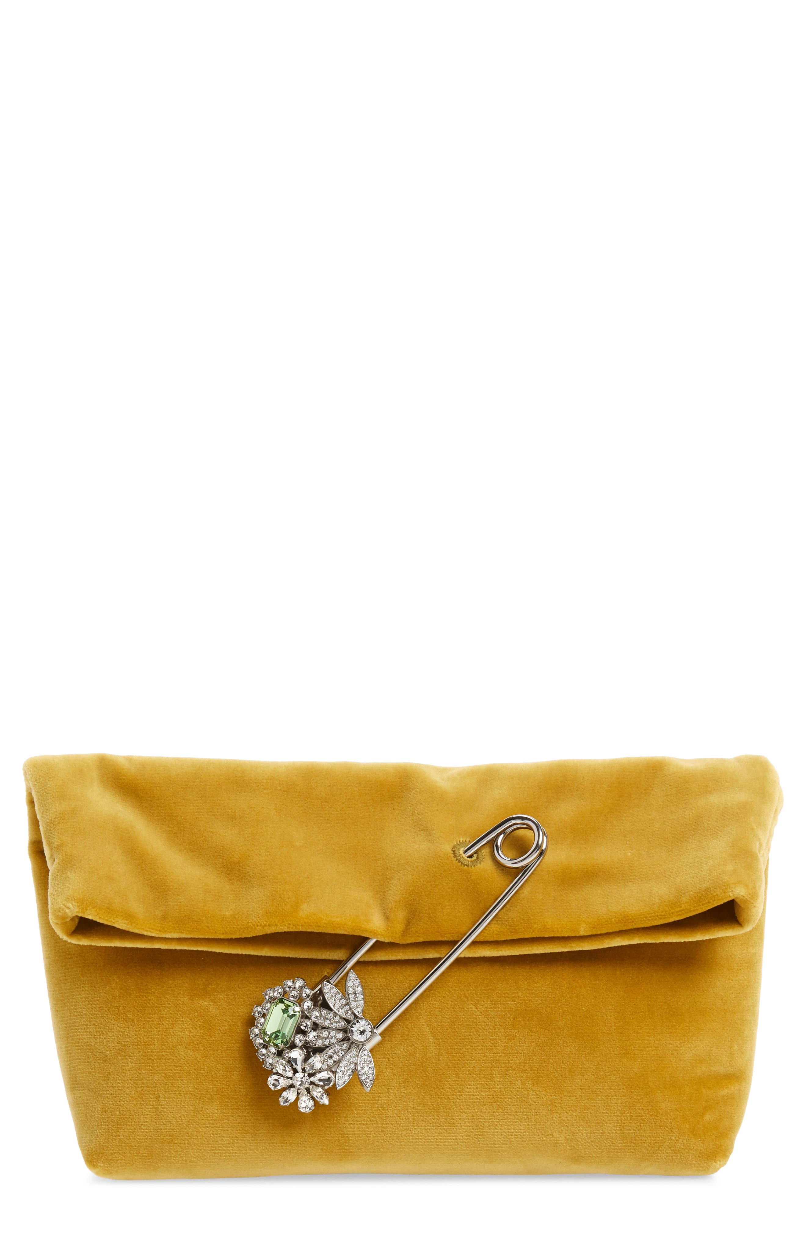 Small Safety Pin Clutch,                             Main thumbnail 1, color,                             LARCH YELLOW