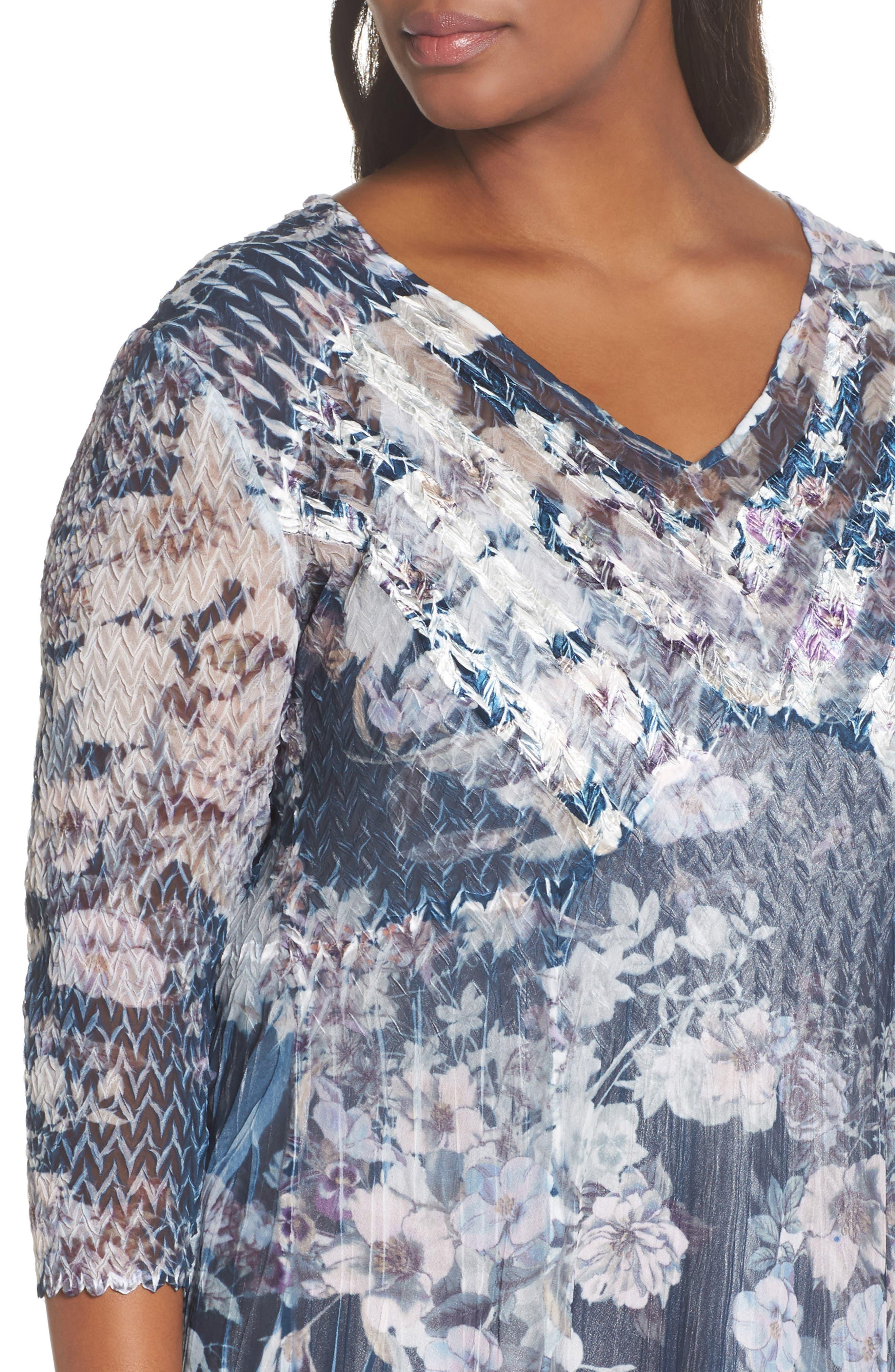 Floral Print V-Neck Dress,                             Alternate thumbnail 4, color,                             404