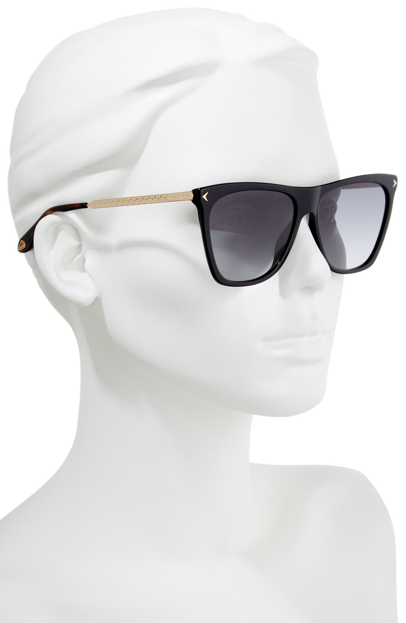 58mm Flat Top Sunglasses,                             Alternate thumbnail 2, color,                             BLACK