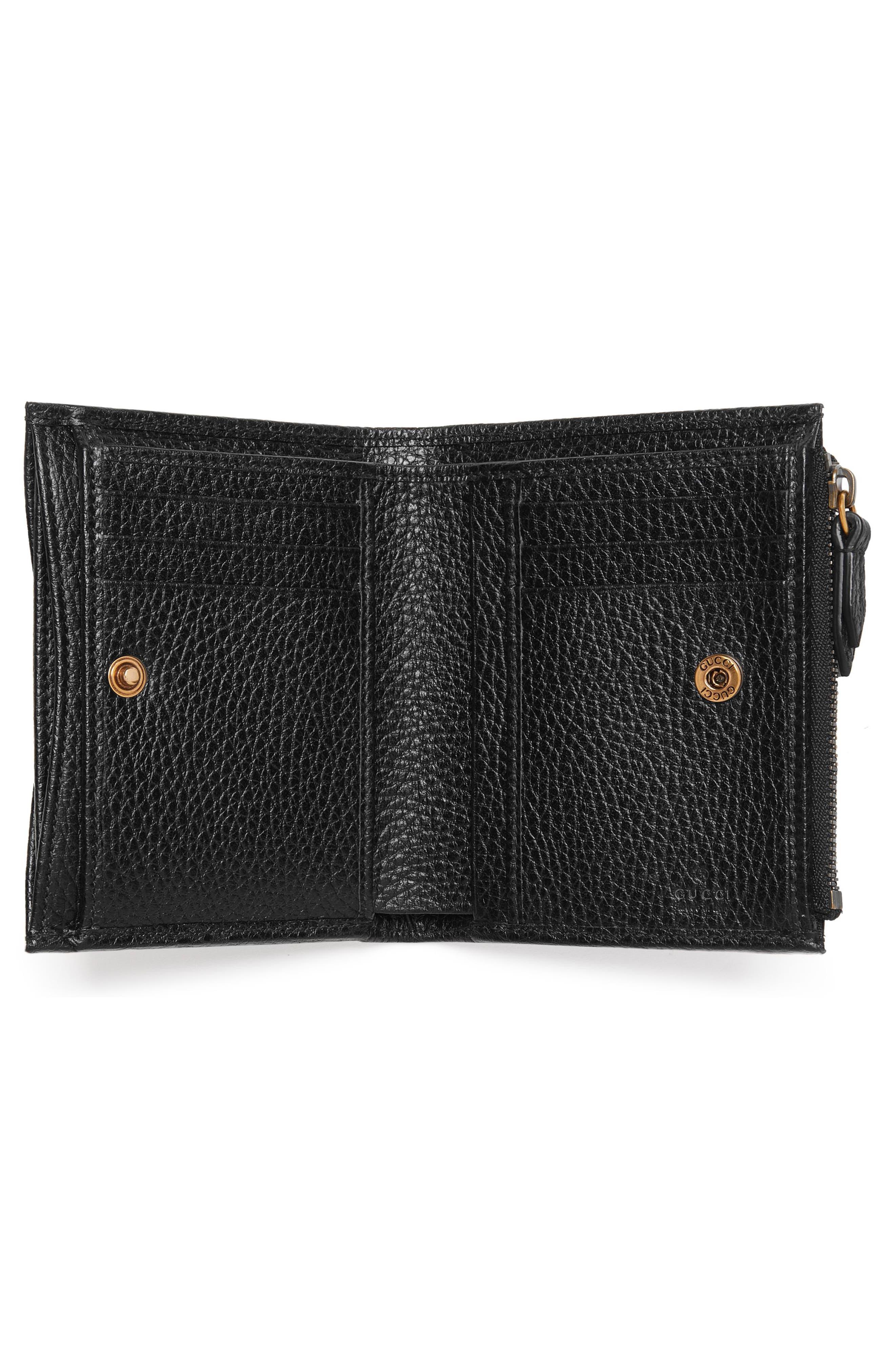 Farfalla Leather Wallet,                             Alternate thumbnail 2, color,                             NERO/ CRYSTAL