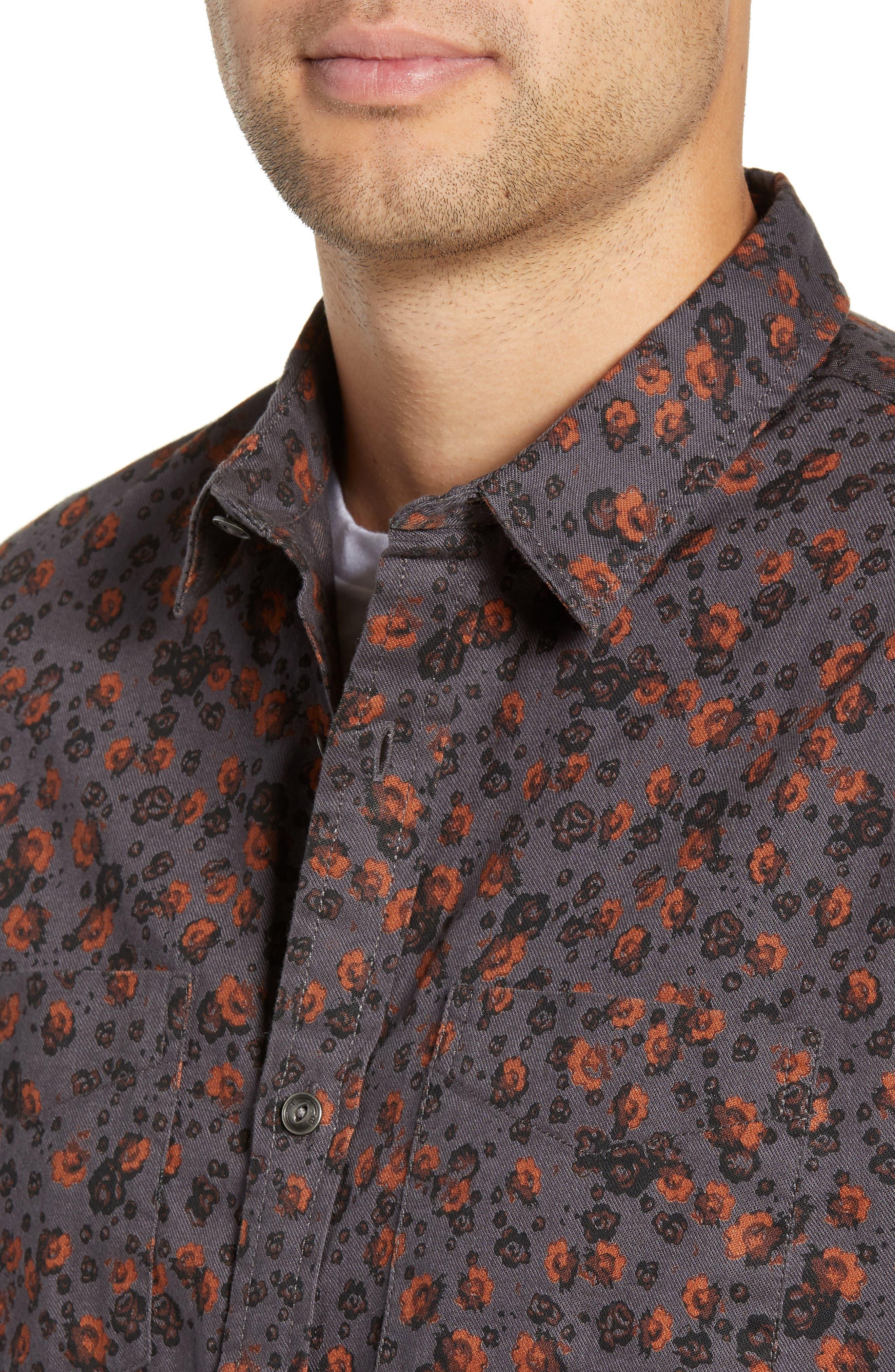 Floral Flannel Sport Shirt,                             Alternate thumbnail 2, color,                             GREY METEOR FOLK FLORAL