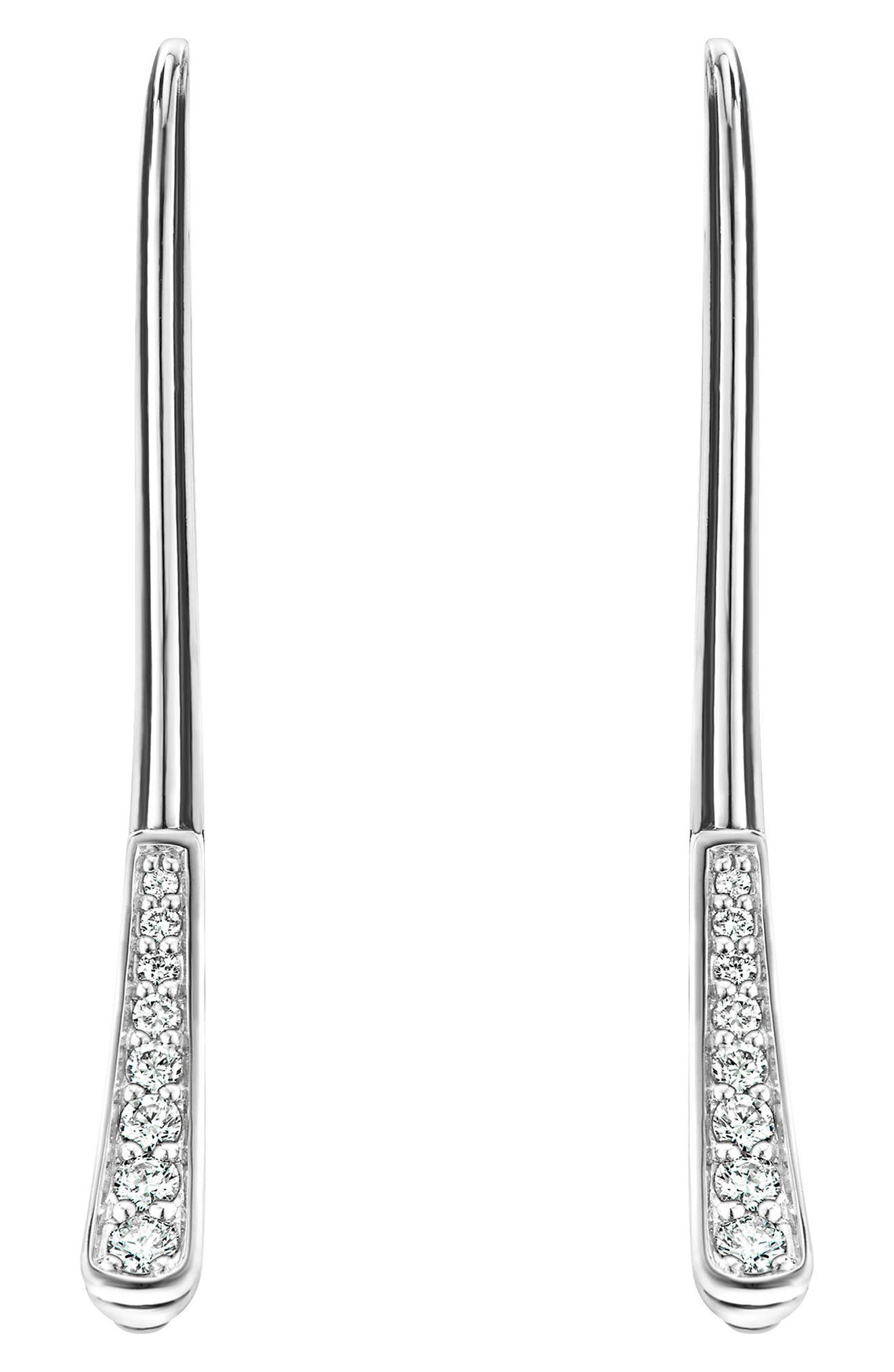 Caviar Diamond Fluted Drop Earrings,                             Main thumbnail 1, color,                             DIAMOND