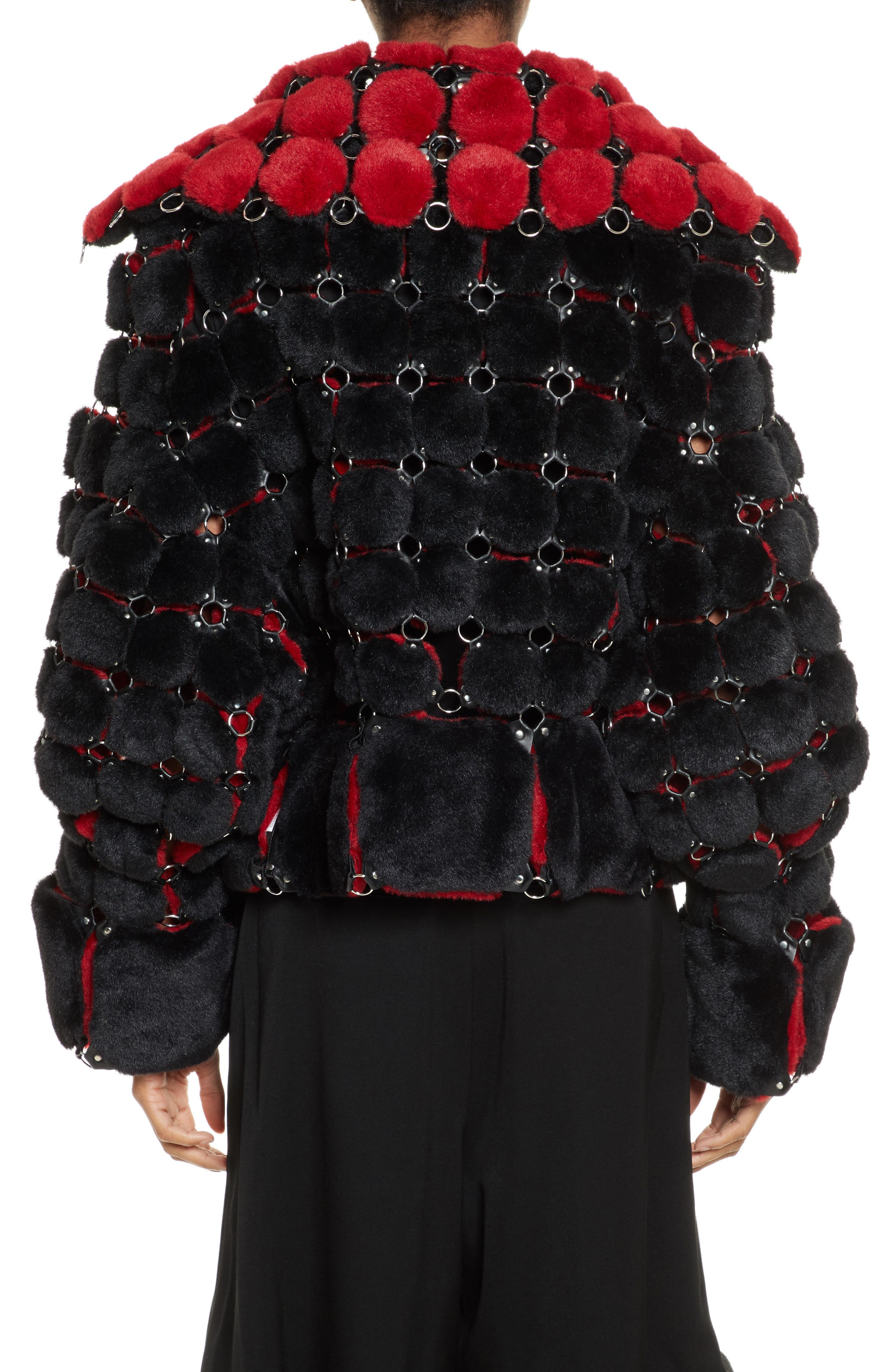 Faux Fur Jacket with Chain Mail Detail,                             Alternate thumbnail 2, color,                             005