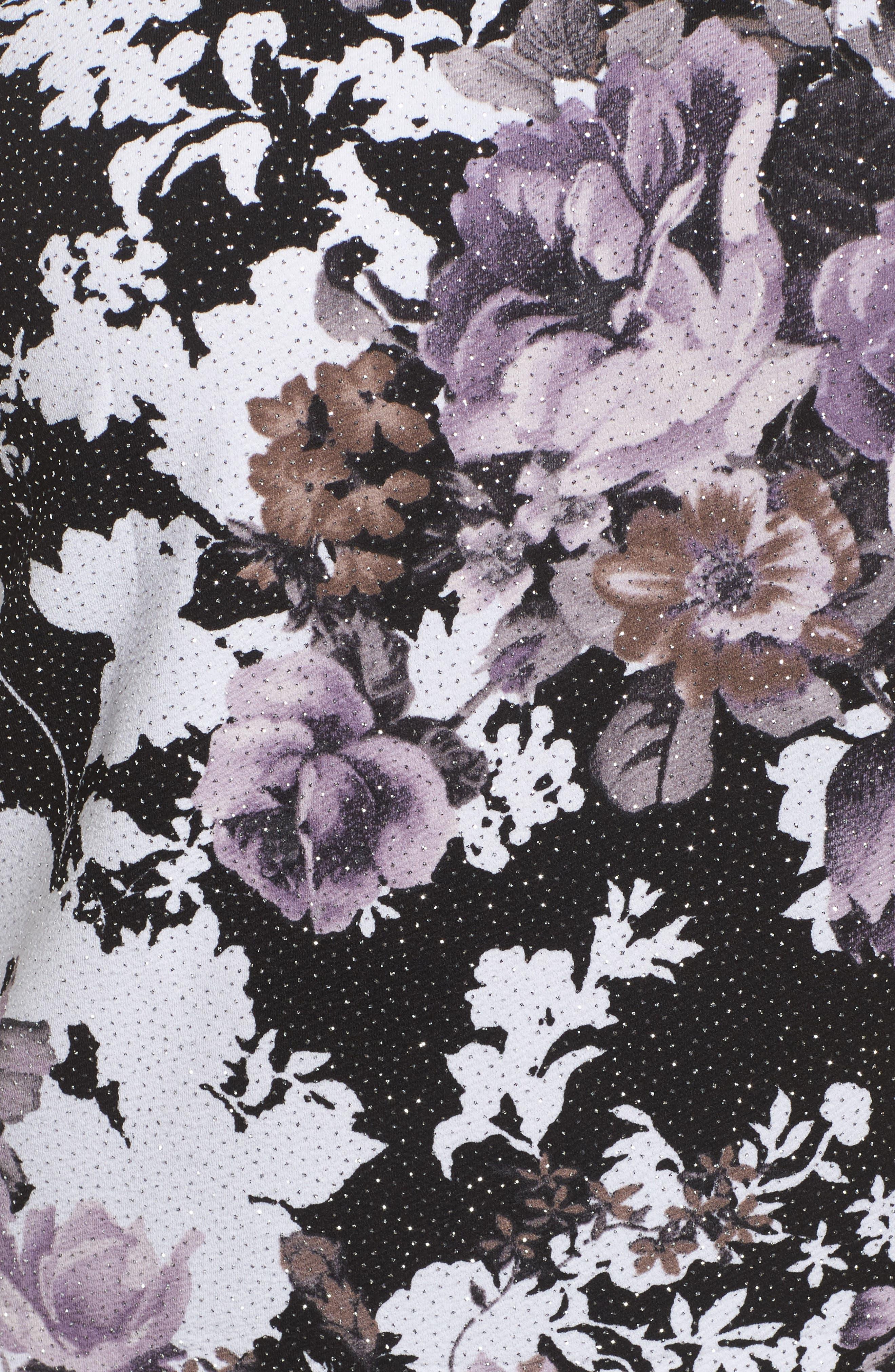 Floral Mandarin Collar Twinset,                             Alternate thumbnail 5, color,                             ORCHID MULTI
