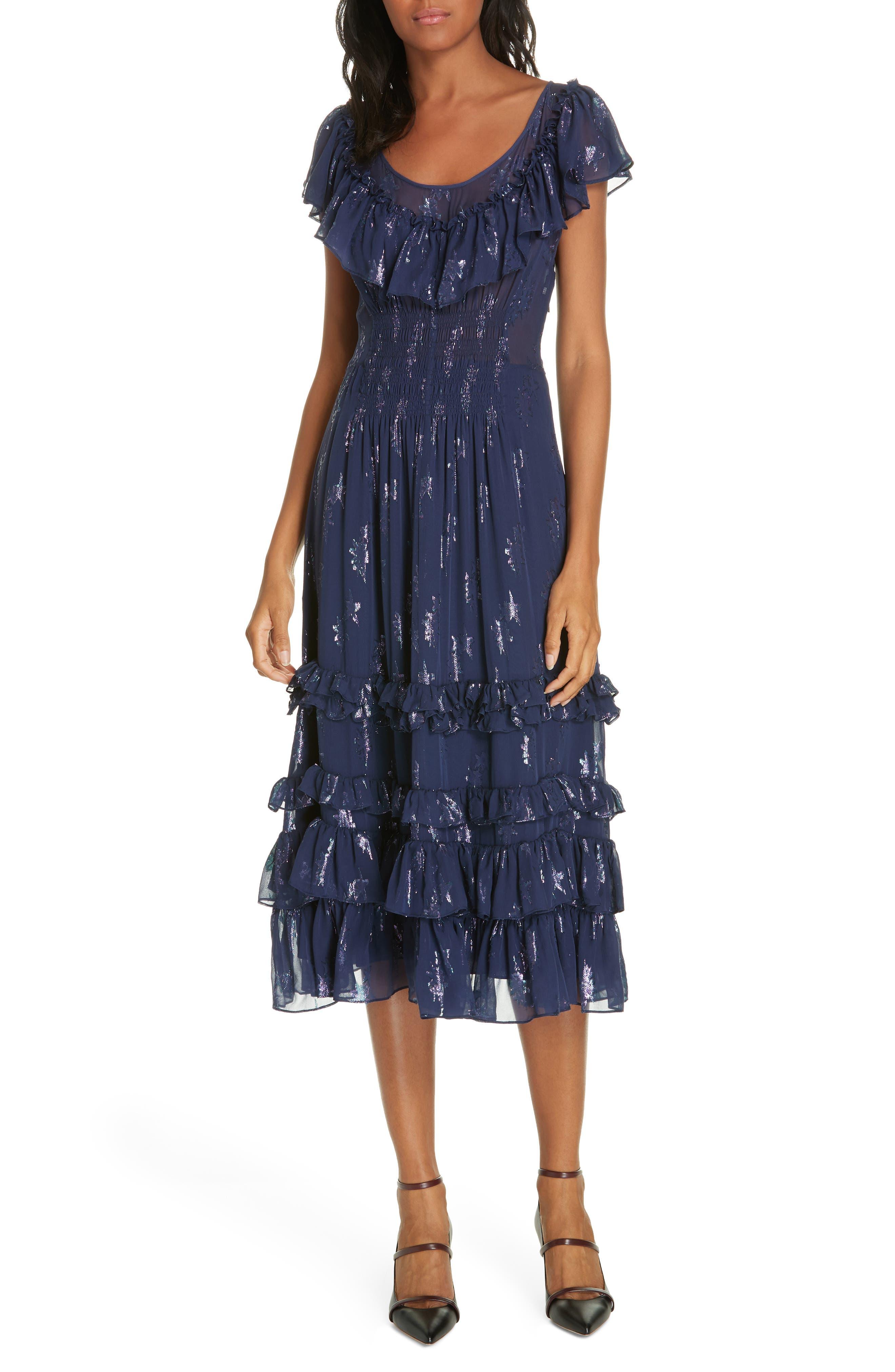Metallic Stars Midi Dress,                         Main,                         color, GEMINI