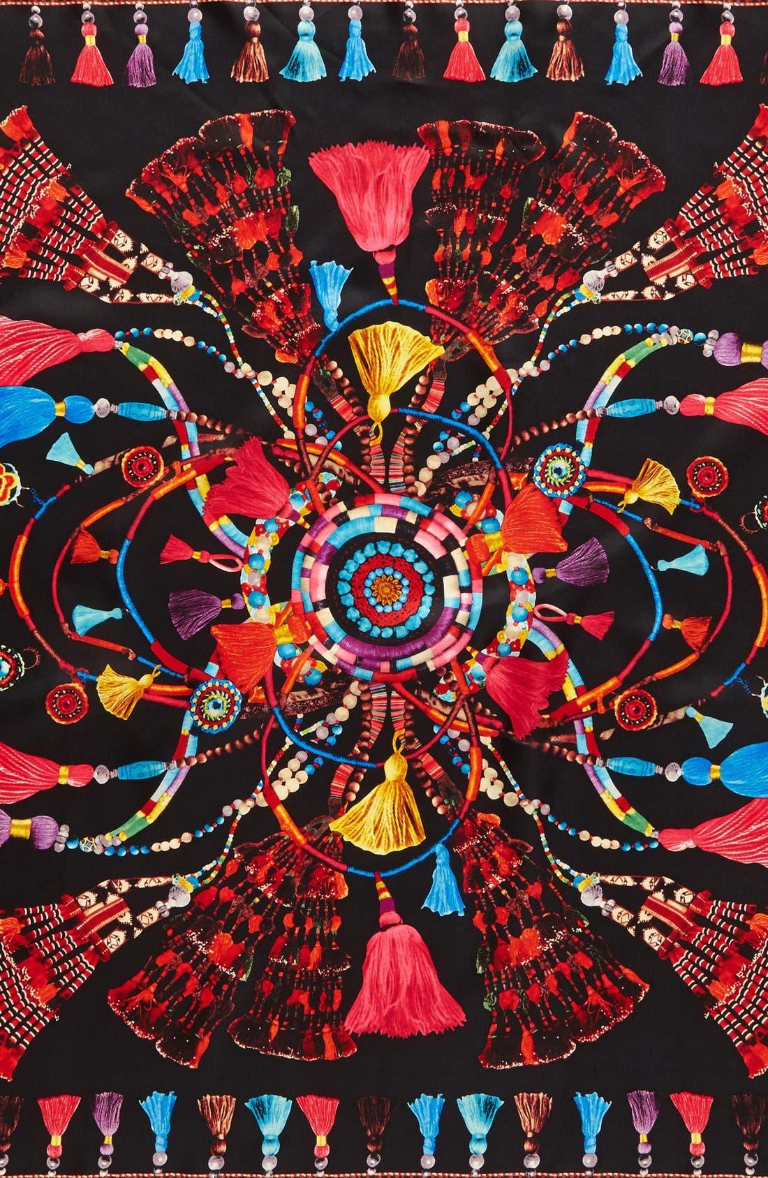 Tassel Rhapsody Silk Scarf,                             Alternate thumbnail 6, color,                             001