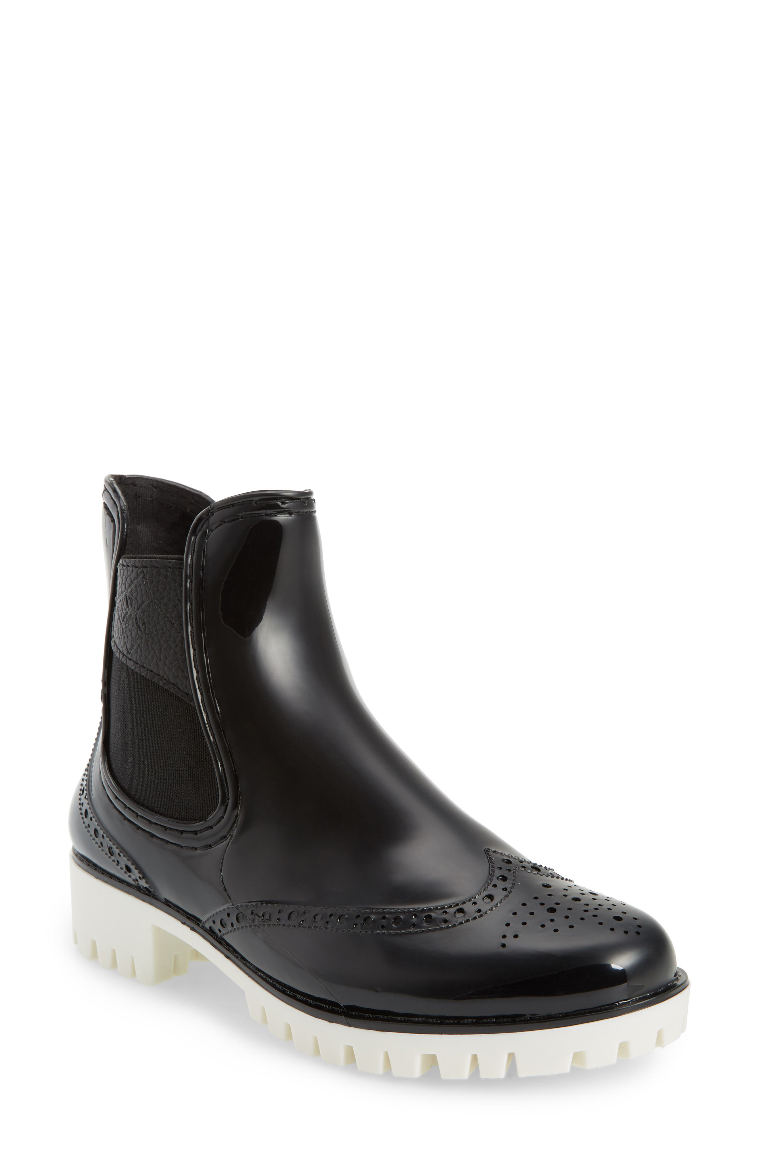 Leeds Brogue Rain Boot,                             Main thumbnail 1, color,                             BLACK