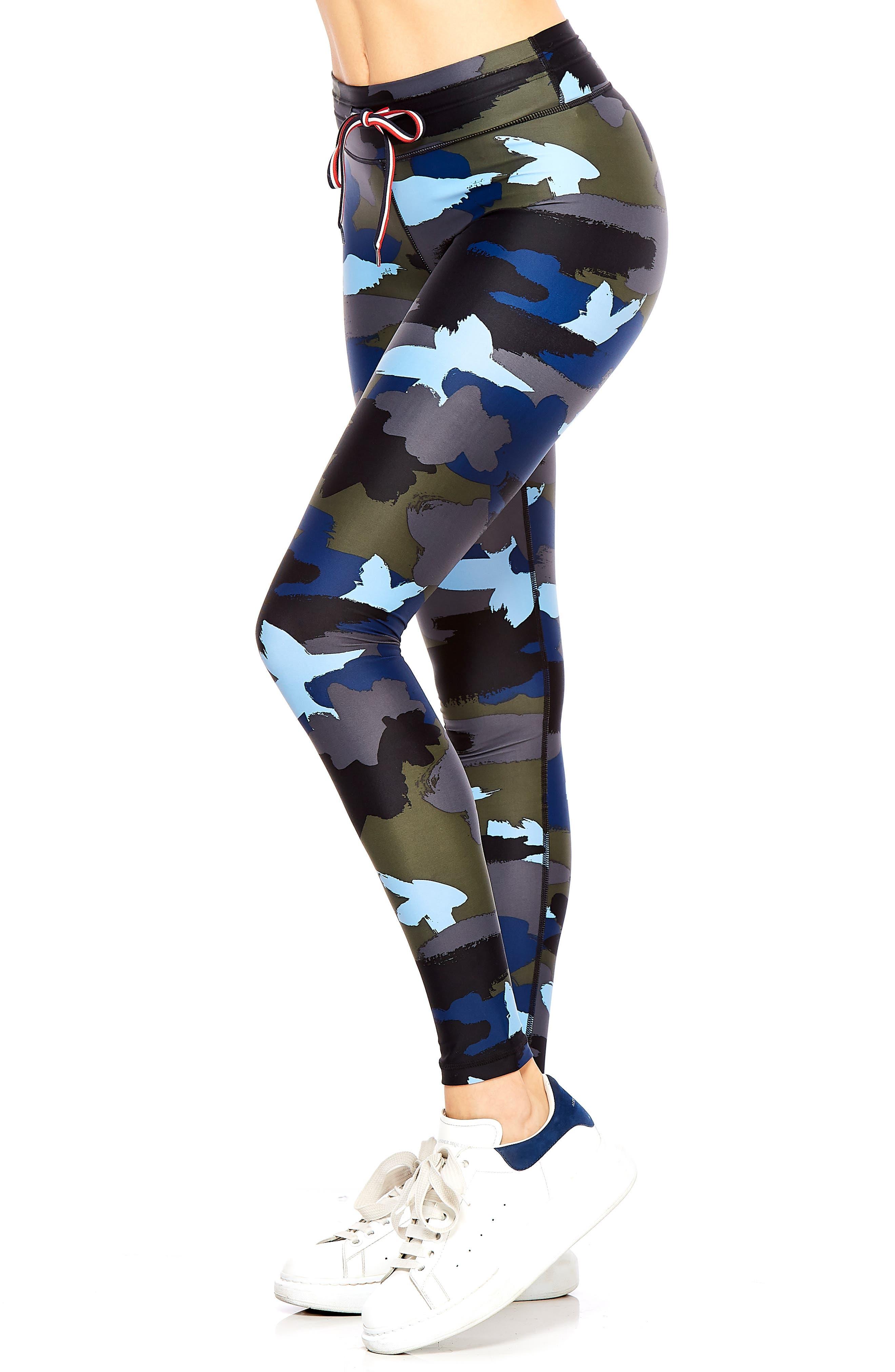 Abstract Camo Yoga Leggings,                             Alternate thumbnail 3, color,                             BLUE MULTI