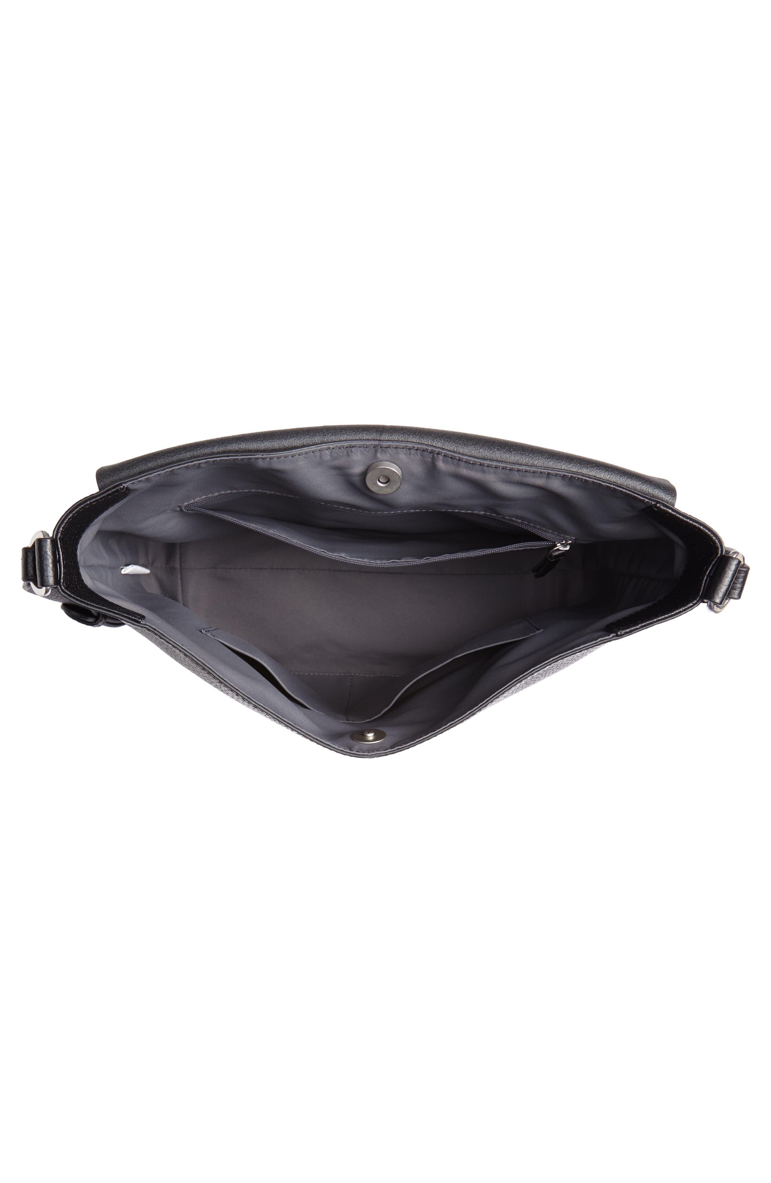 Nevyn Leather Messenger Bag,                             Alternate thumbnail 4, color,                             BLACK