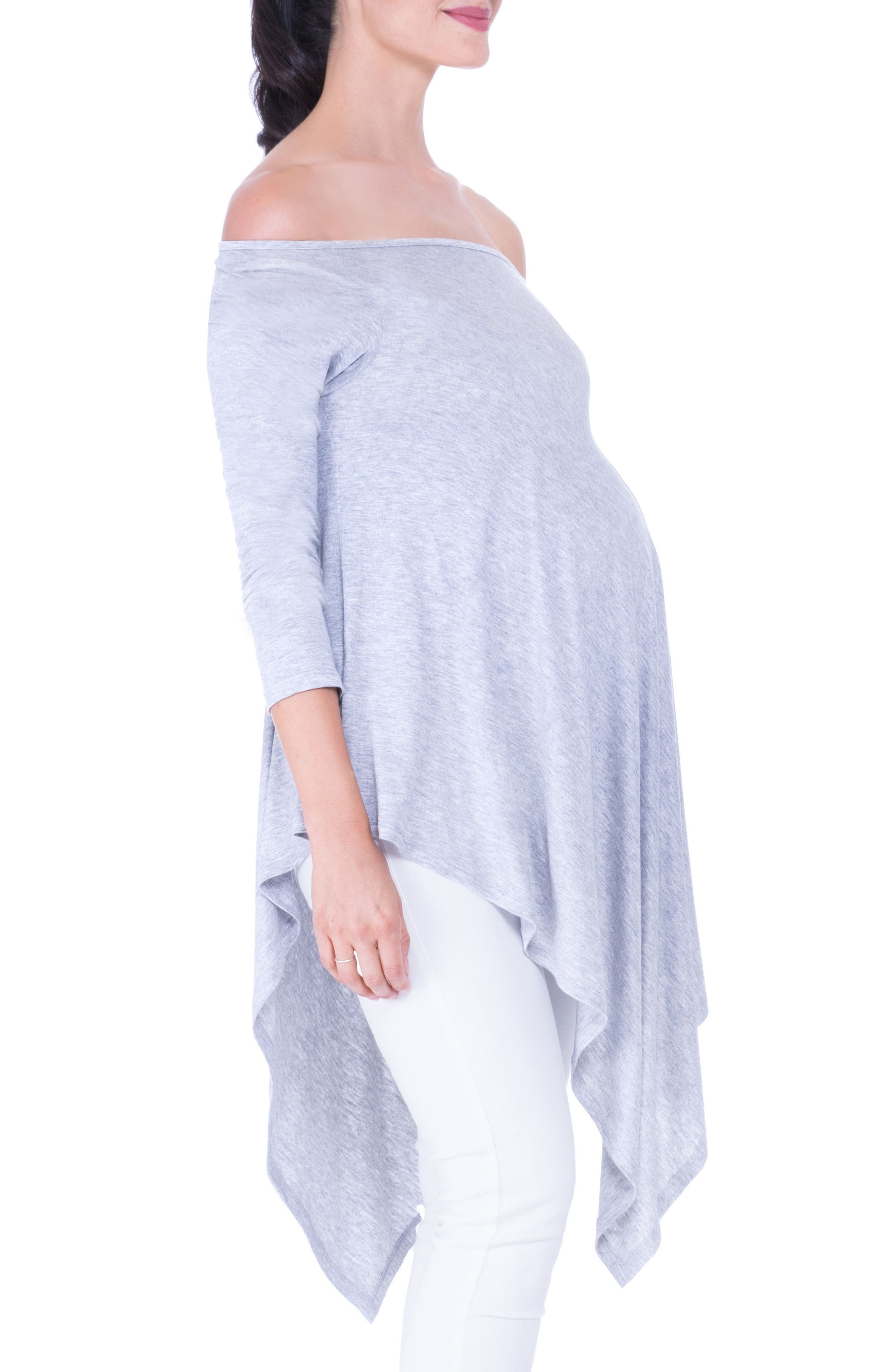 Off the Shoulder Maternity Tunic,                             Alternate thumbnail 3, color,                             HEATHER GREY