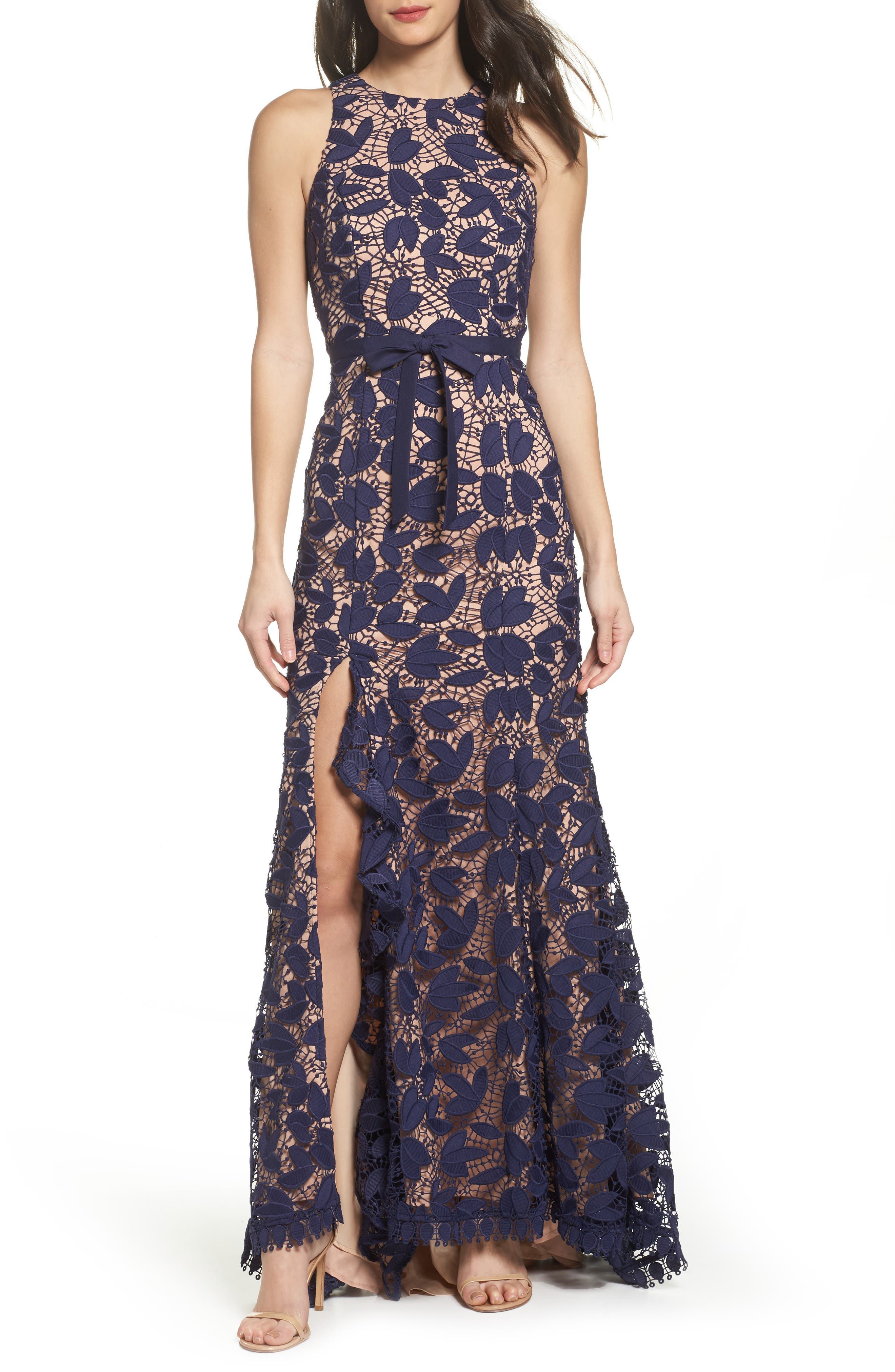 Petal Lace Gown,                         Main,                         color, 410