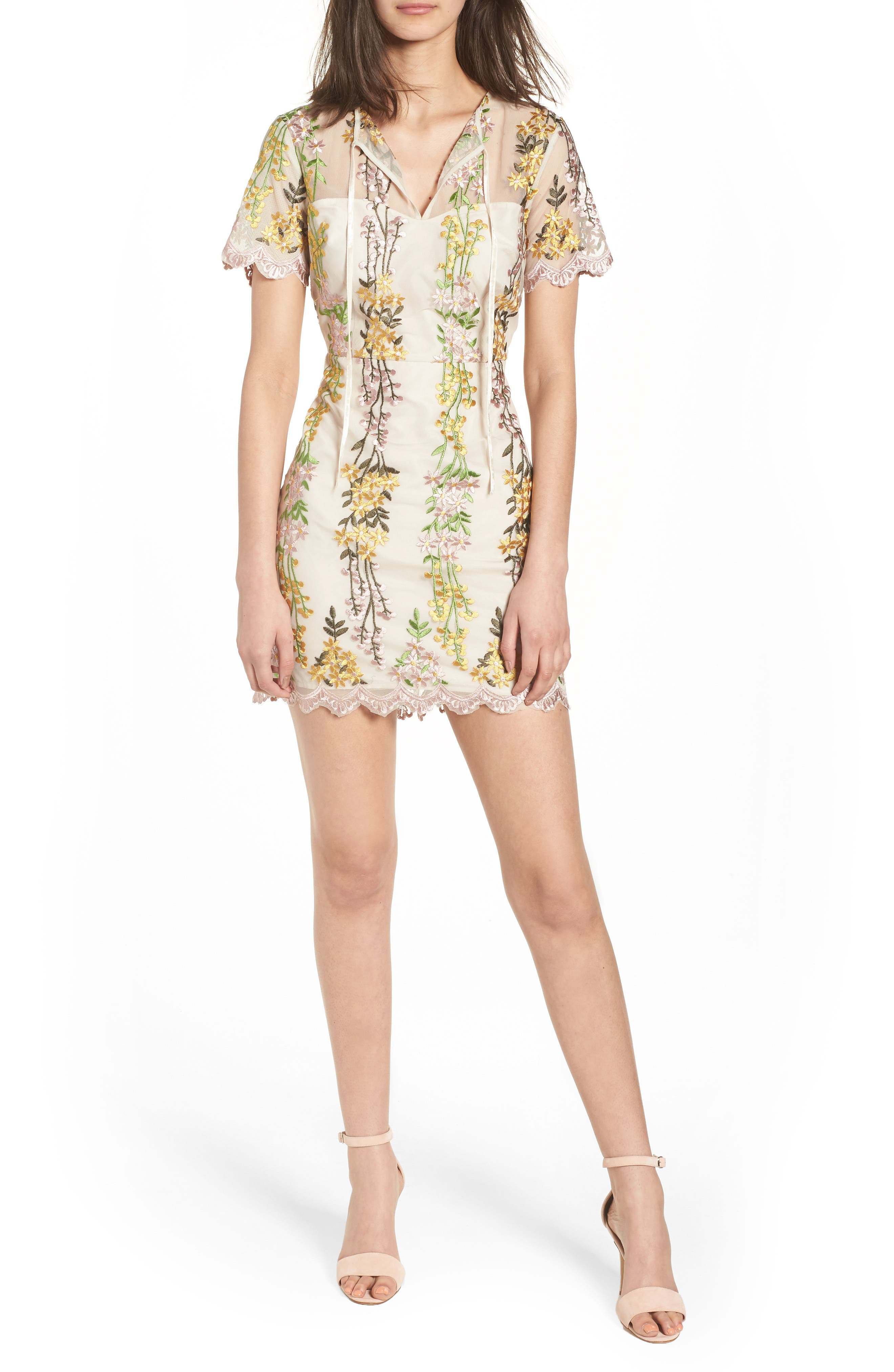 Gram Embroidered Minidress,                             Main thumbnail 1, color,                             SOFT BEIGE