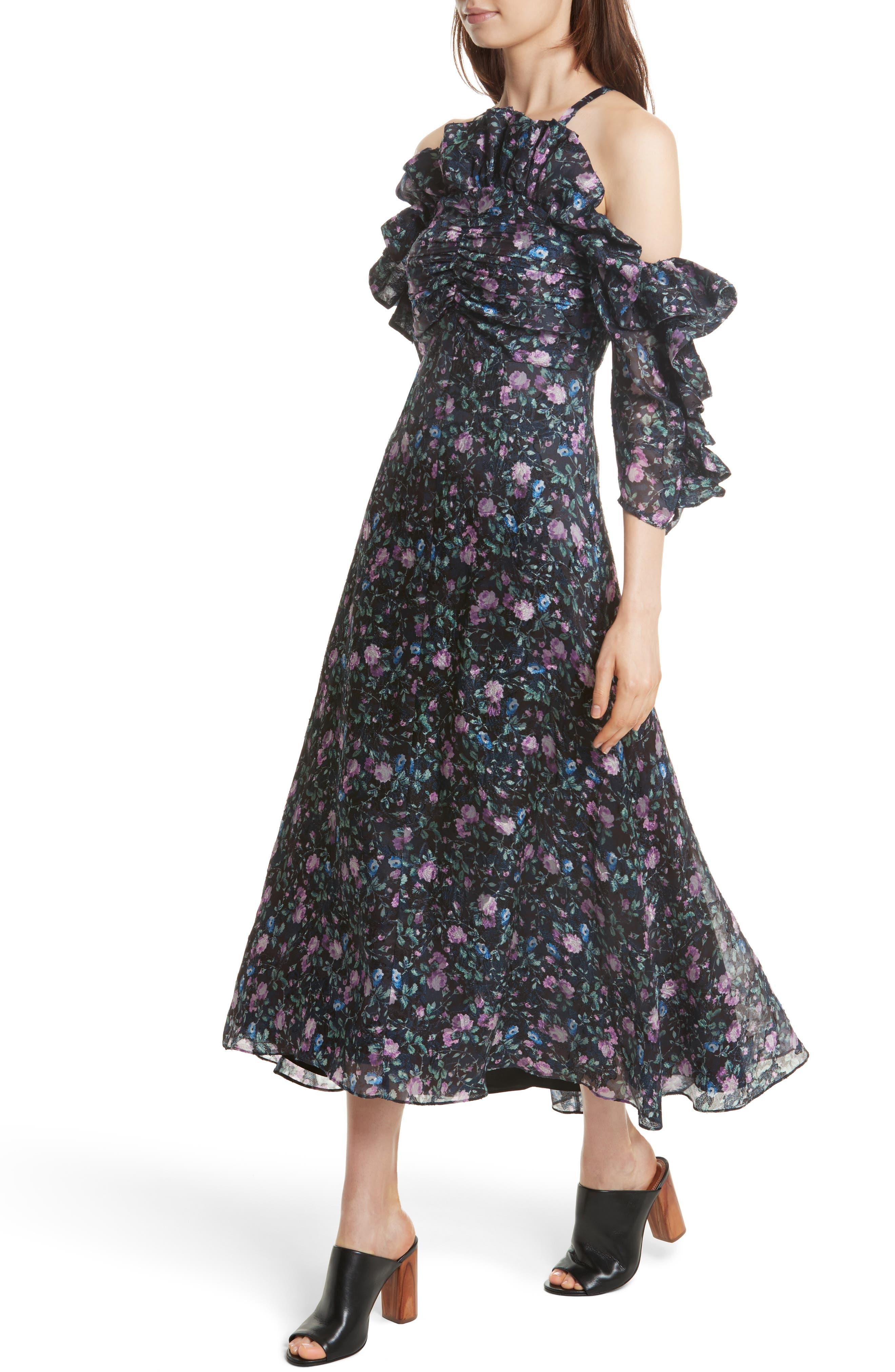 Ruby Organza Midi Dress,                             Alternate thumbnail 4, color,                             497