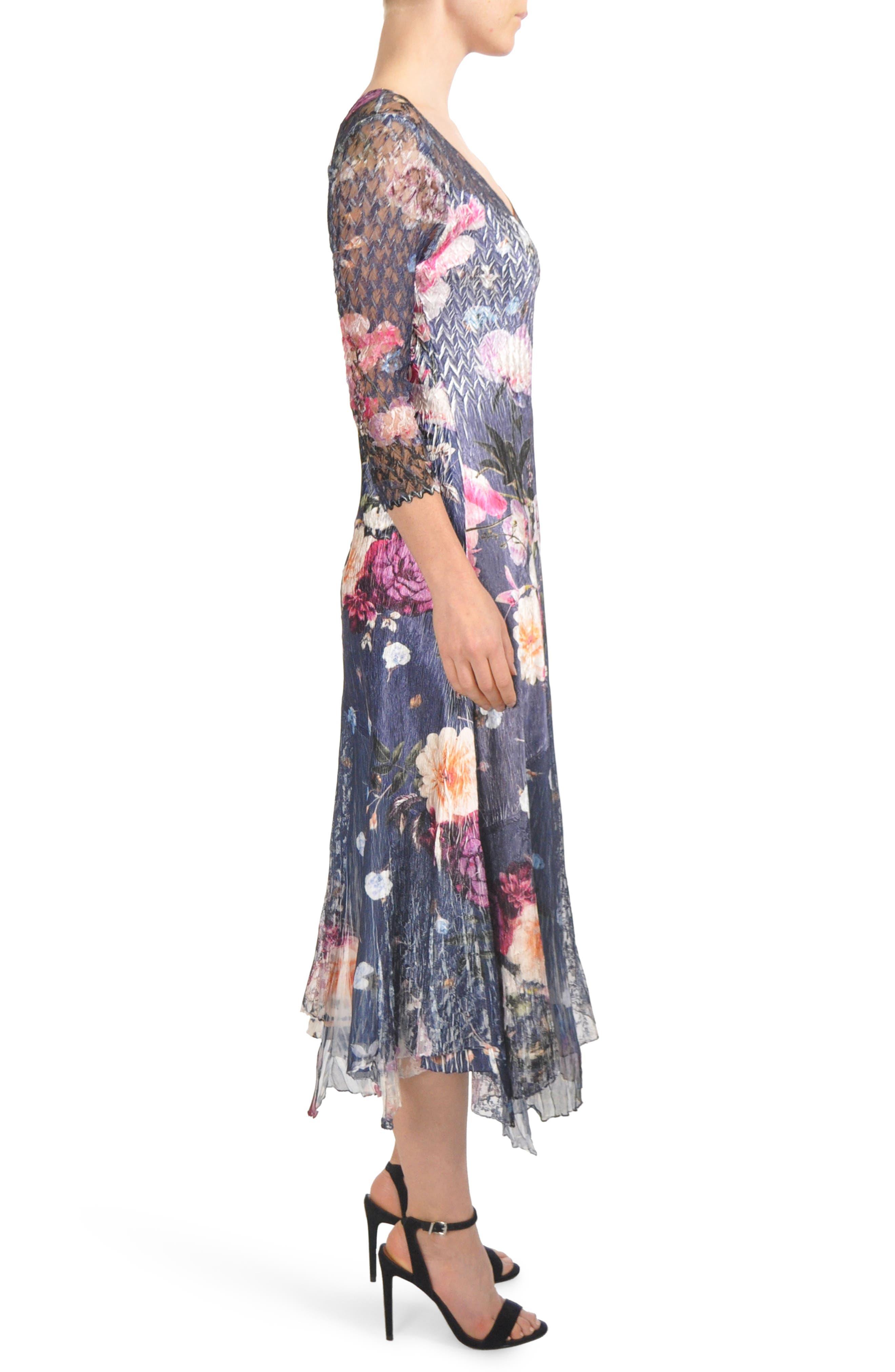 Foral Print Lace Inset Dress,                             Alternate thumbnail 3, color,                             401