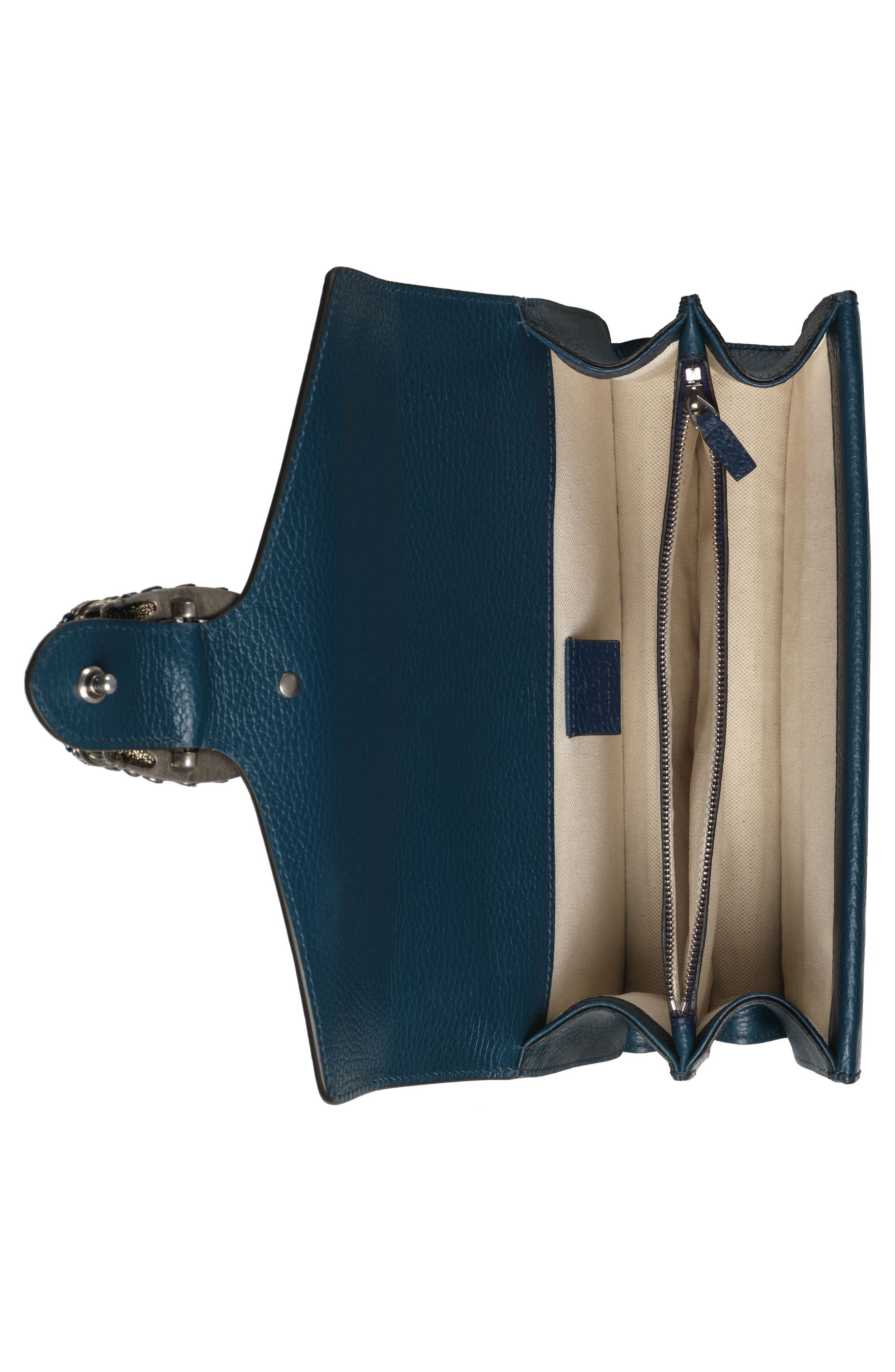Small Dionysus Leather Shoulder Bag,                             Alternate thumbnail 3, color,                             BLU AGATA/ MONTANA