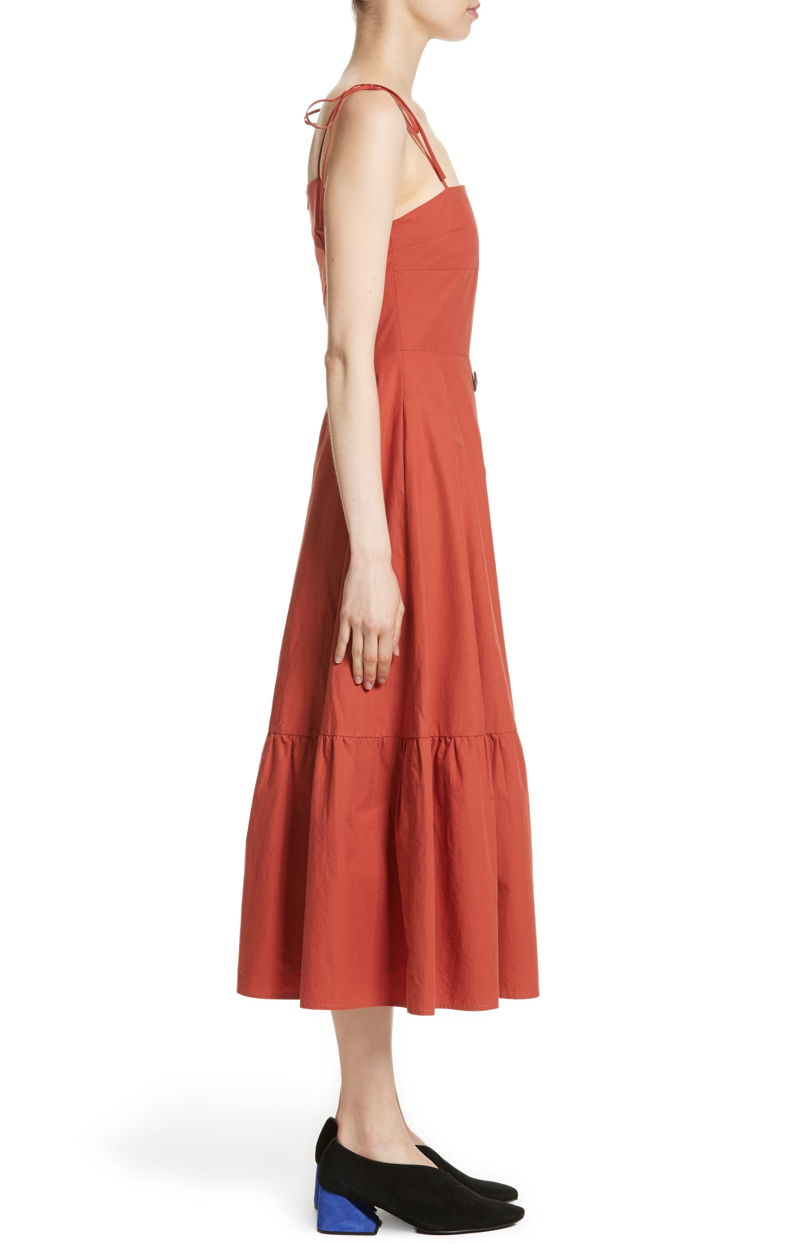 Maria Ruffle Hem Poplin Midi Dress,                             Alternate thumbnail 3, color,