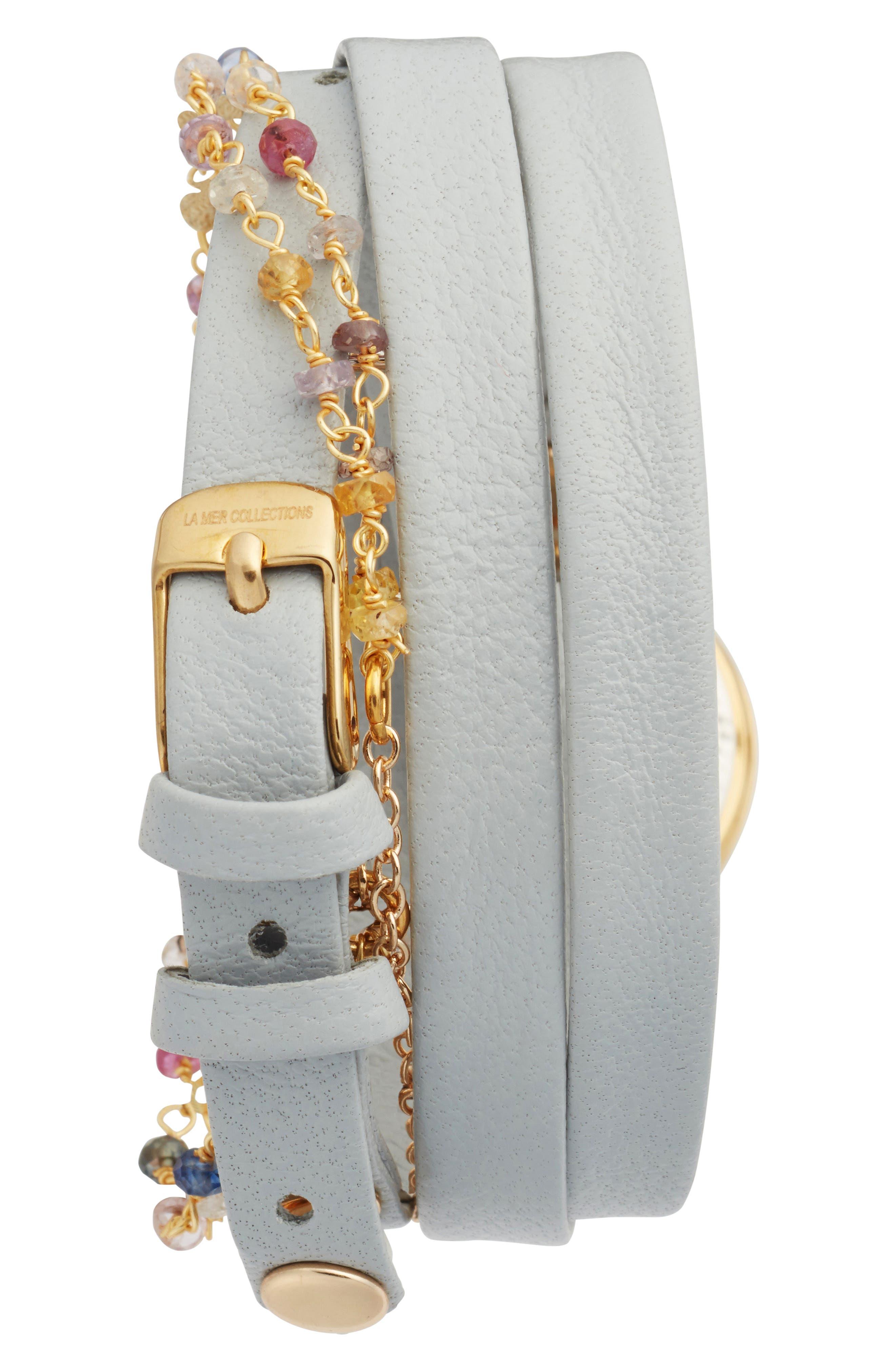 La Mer Nolita Leather Wrap Strap Watch, 22mm,                             Alternate thumbnail 2, color,                             STONE/WHITE/GOLD