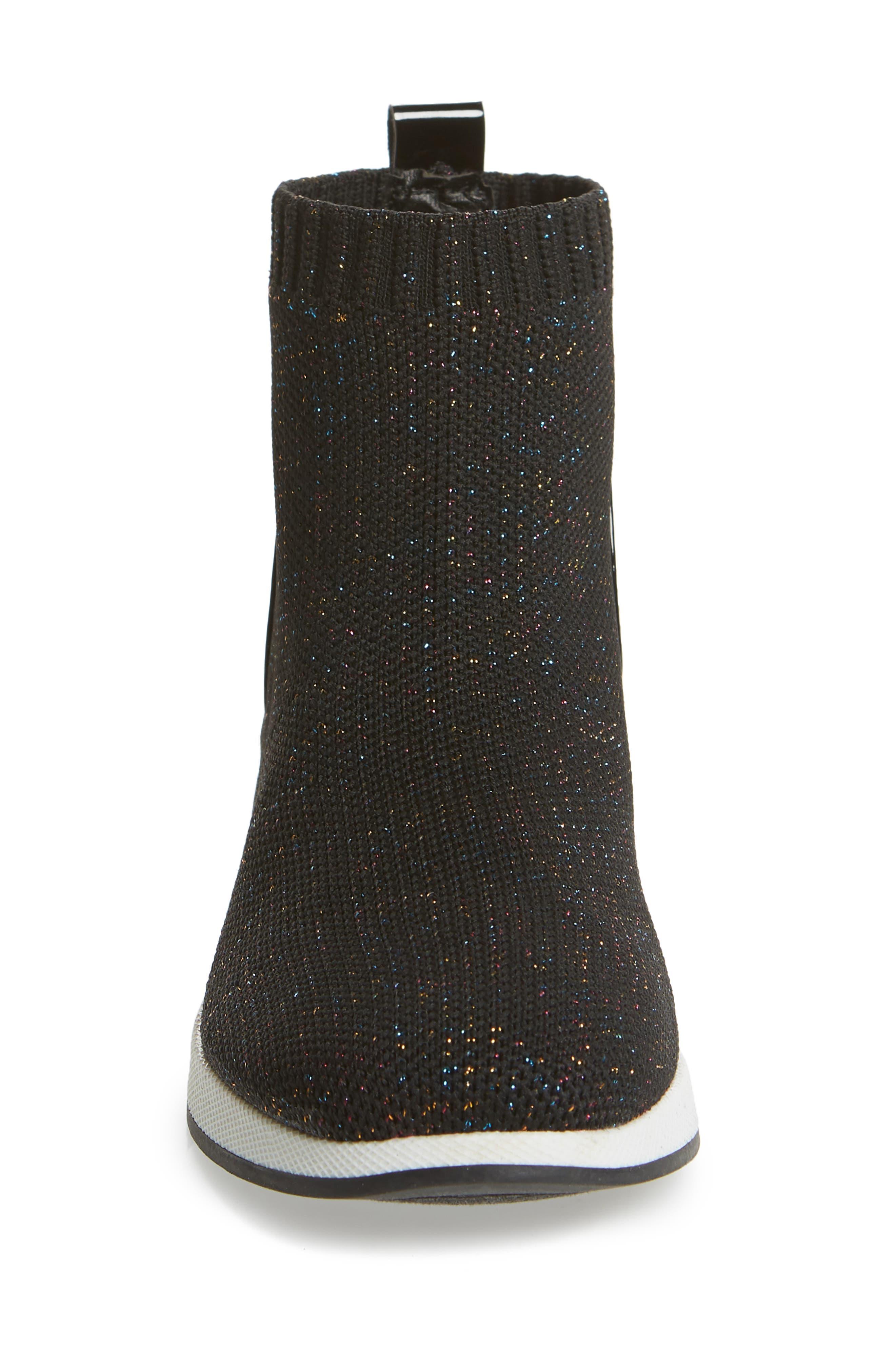 STEVE MADDEN,                             Dusky Metallic High Top Wedge Sock Sneaker,                             Alternate thumbnail 4, color,                             BLACK MULTI