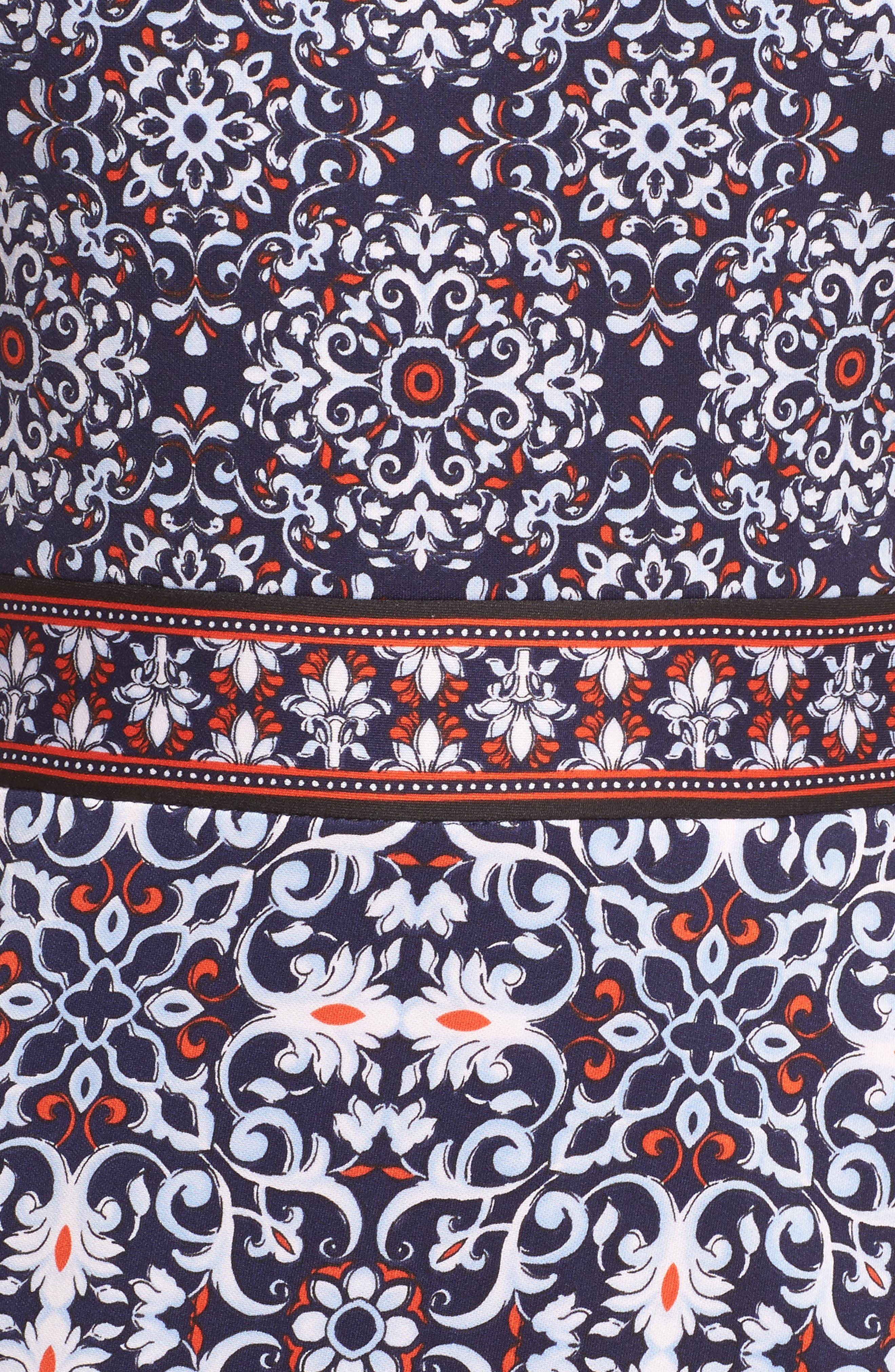 Printed Scissor Front Sleeveless Dress,                             Alternate thumbnail 5, color,                             490