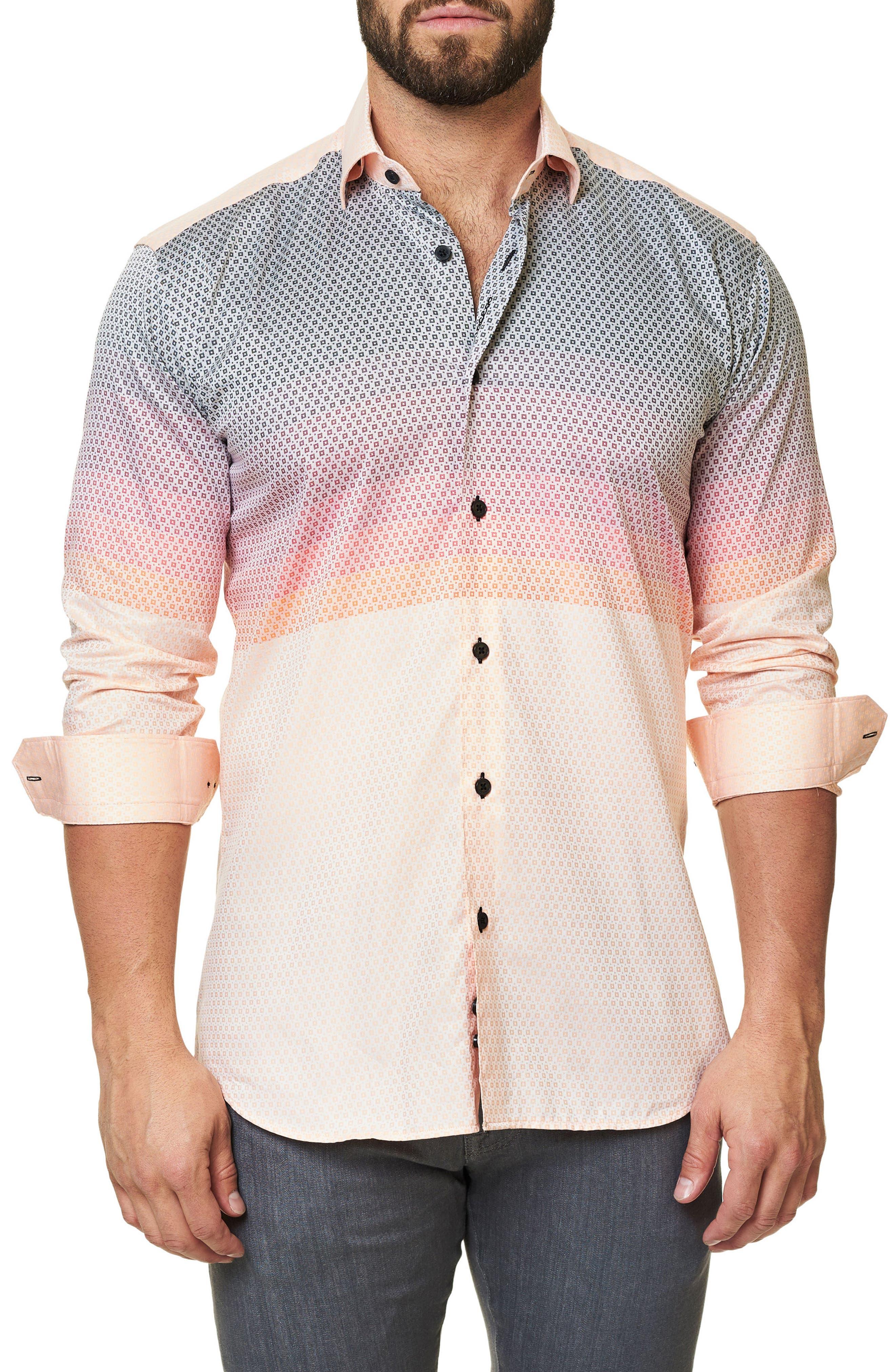 Luxor Moderian Orange Trim Fit Sport Shirt,                         Main,                         color, 811