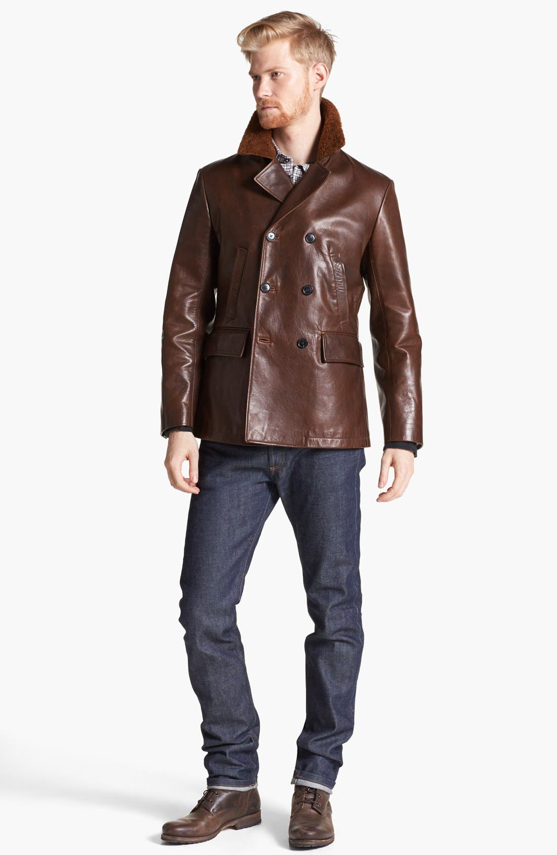 BILLY REID,                             Leather Peacoat with Genuine Shearling Collar,                             Alternate thumbnail 5, color,                             200