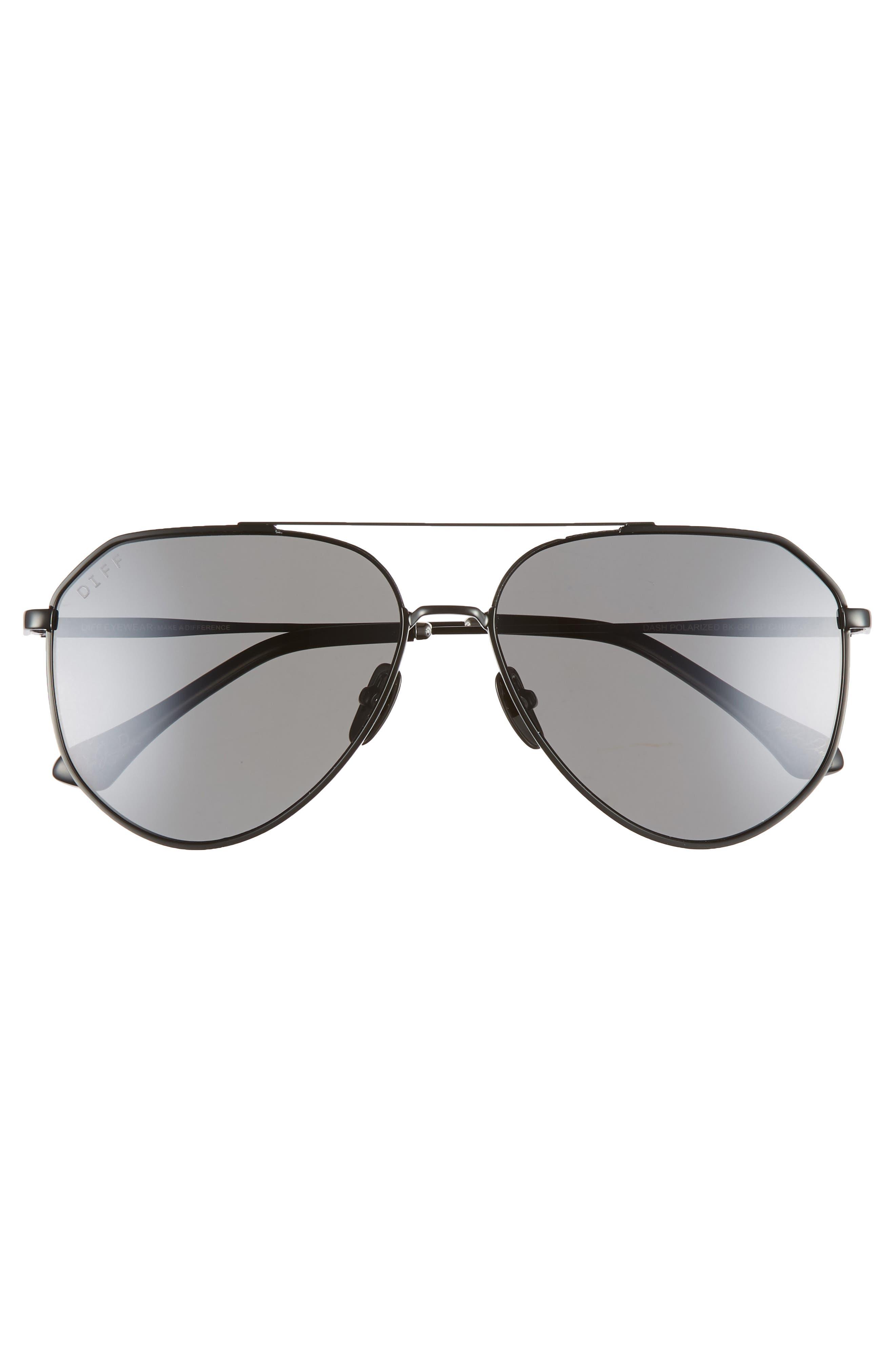 x Jessie James Decker Dash 61mm Polarized Aviator Sunglasses,                             Alternate thumbnail 3, color,                             POLISHED BLACK