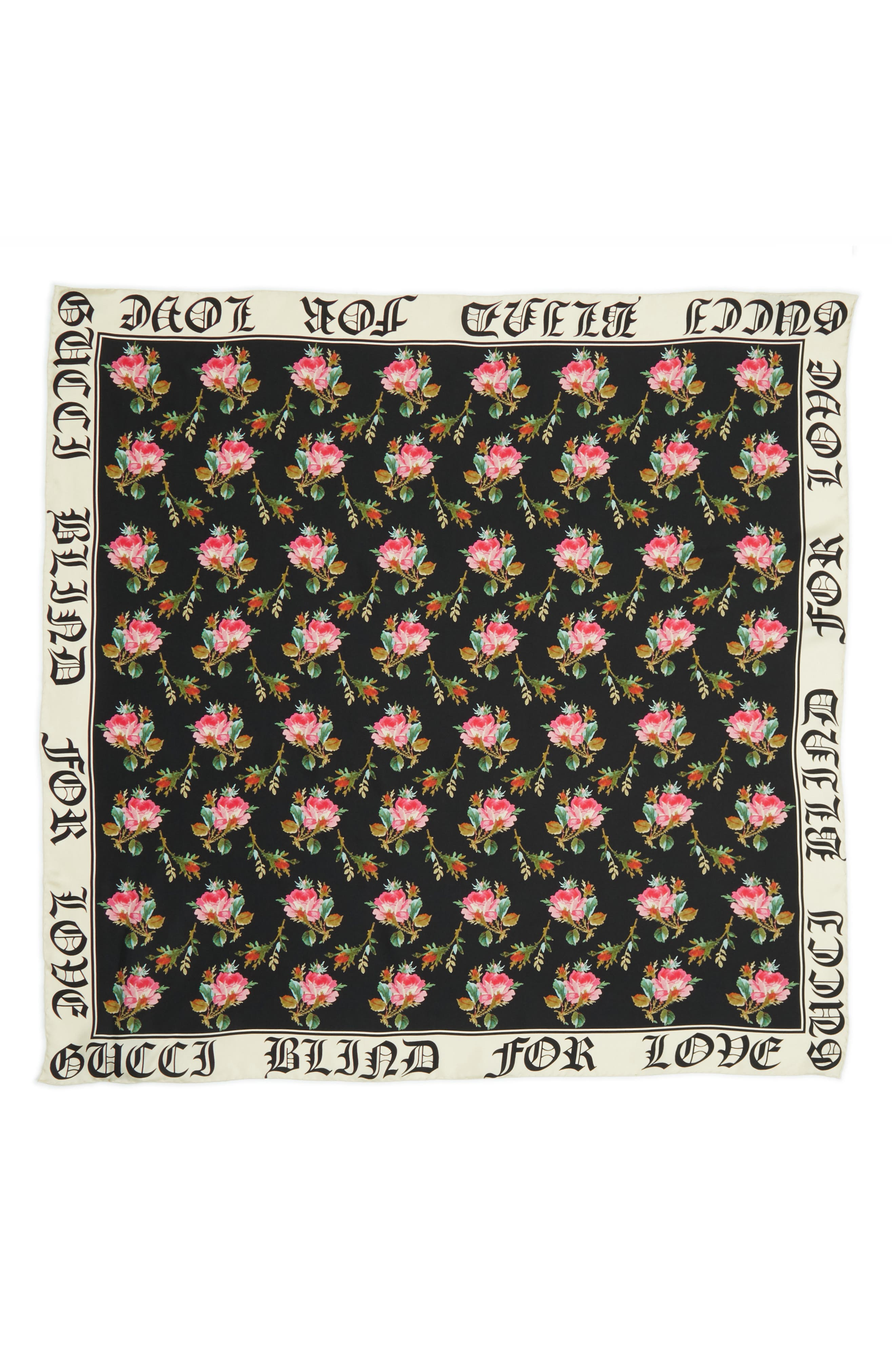 Blind For Love Rose Foulard Scarf,                             Main thumbnail 1, color,                             BLACK/ IVORY