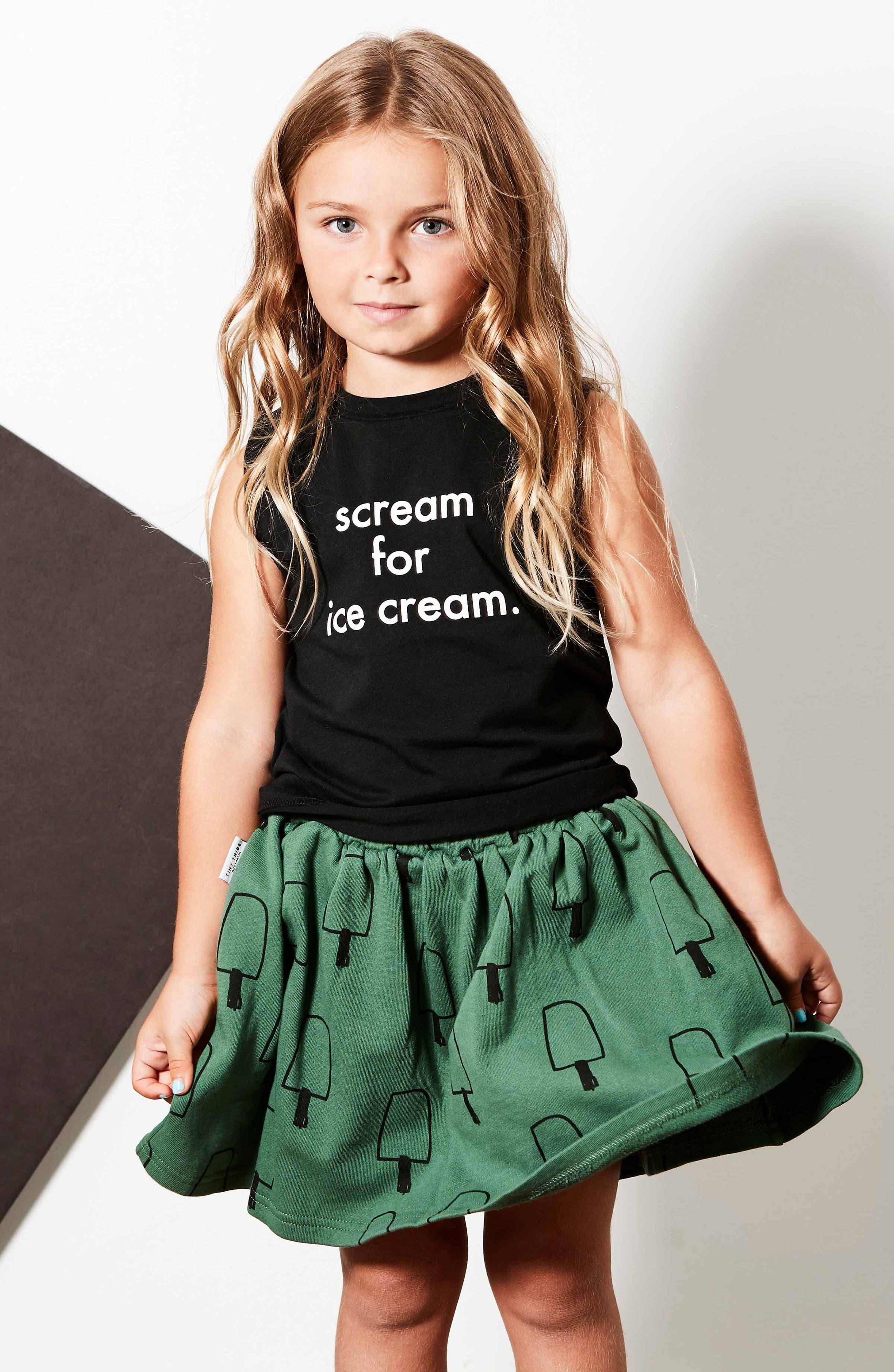 Scream for Ice Cream Tank & Skirt Set,                             Alternate thumbnail 3, color,                             BLACK / GREEN