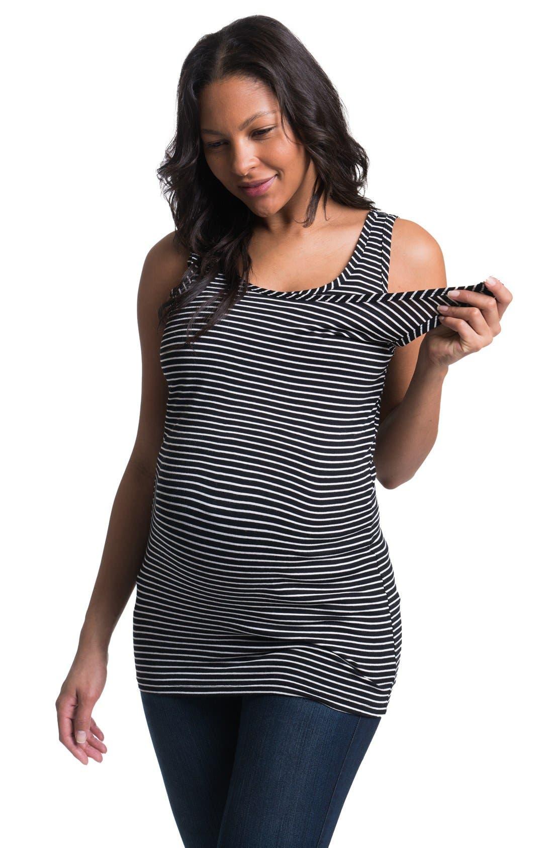 Stripe Maternity/Nursing Tank Top,                             Alternate thumbnail 3, color,                             BLACK WHITE