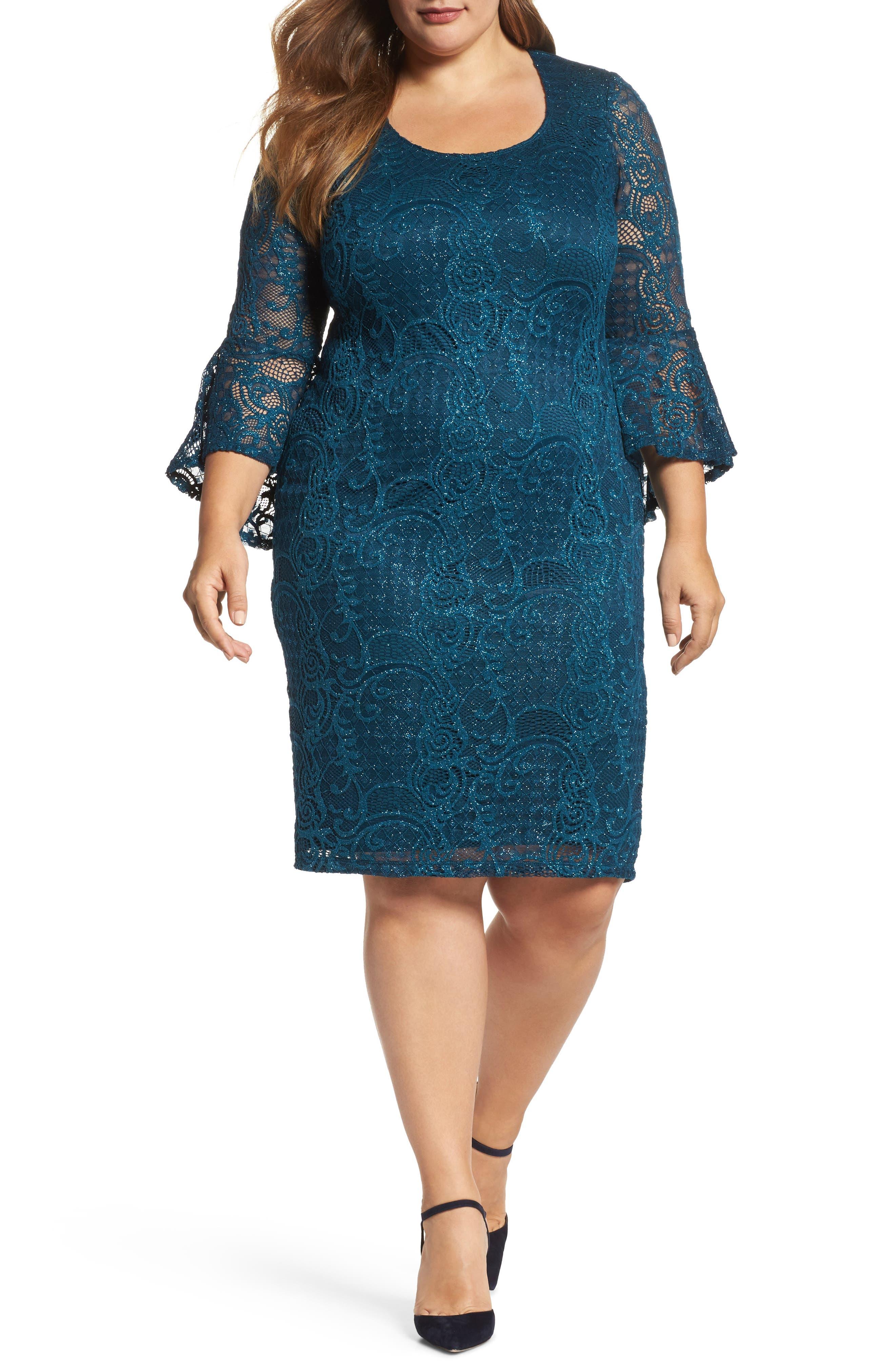 Bell Sleeve Glitter Lace Sheath Dress,                         Main,                         color, 412