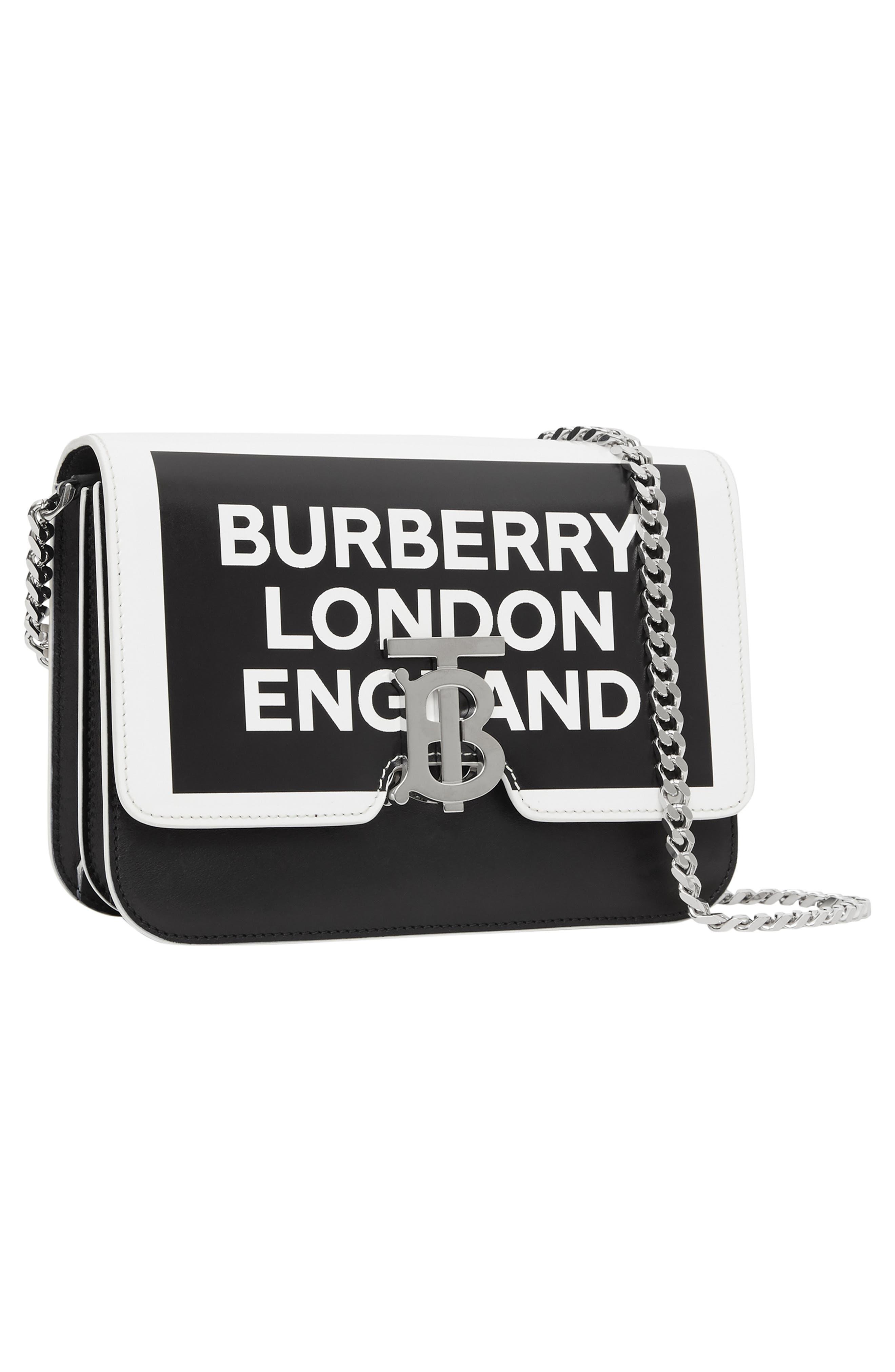 BURBERRY,                             Small Painted Edge Logo TB Crossbody Bag,                             Alternate thumbnail 6, color,                             BLACK/ WHITE