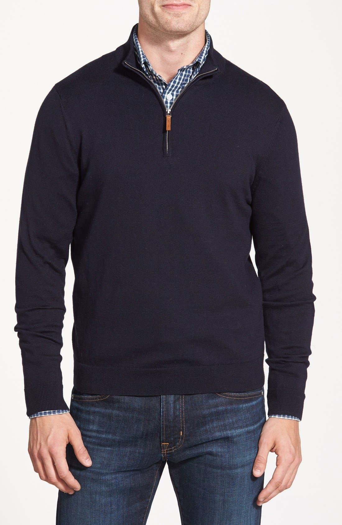 Half Zip Cotton & Cashmere Pullover,                         Main,                         color, NAVY NIGHT