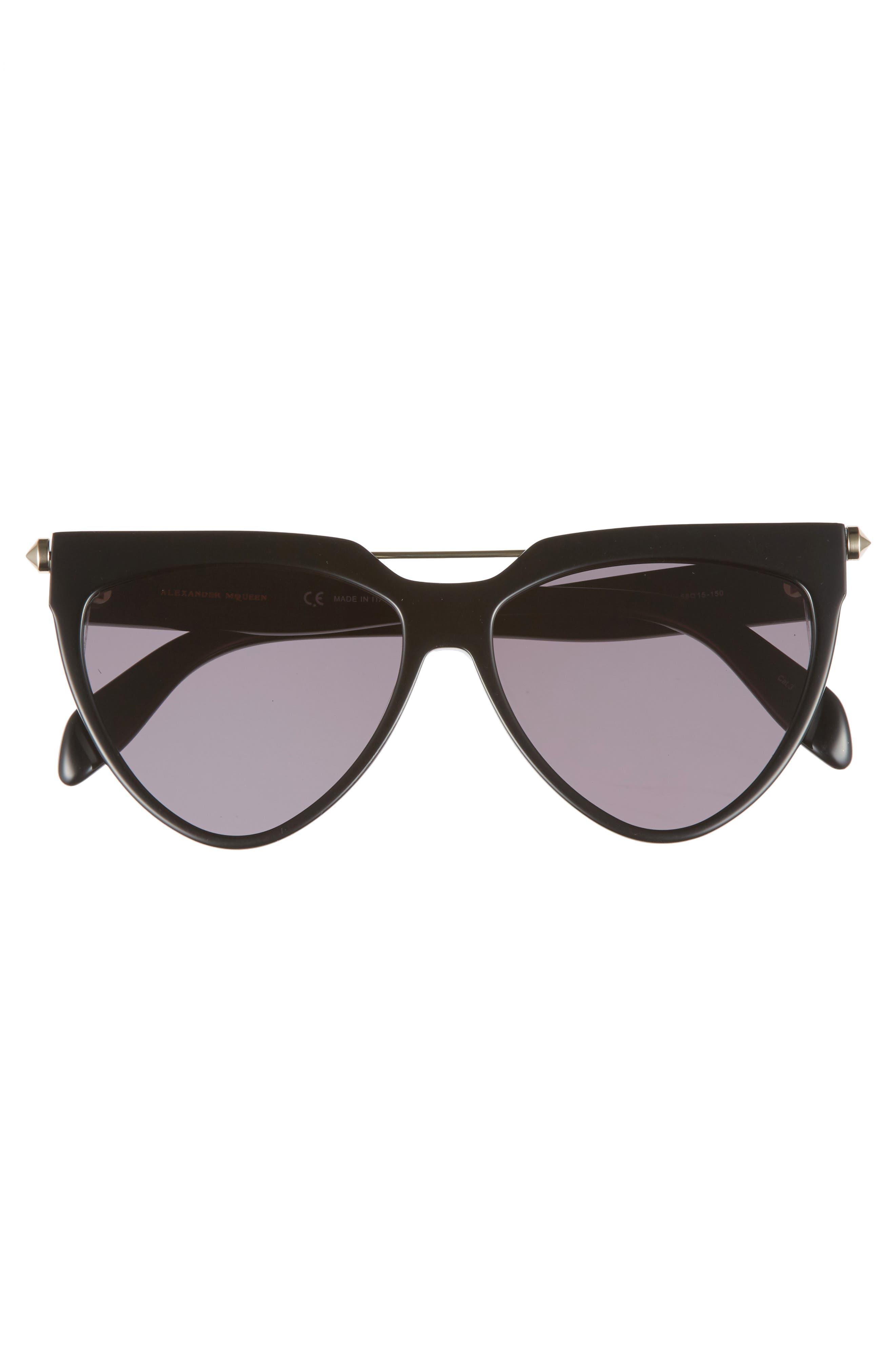 58mm Cat Eye Sunglasses,                             Alternate thumbnail 3, color,                             001