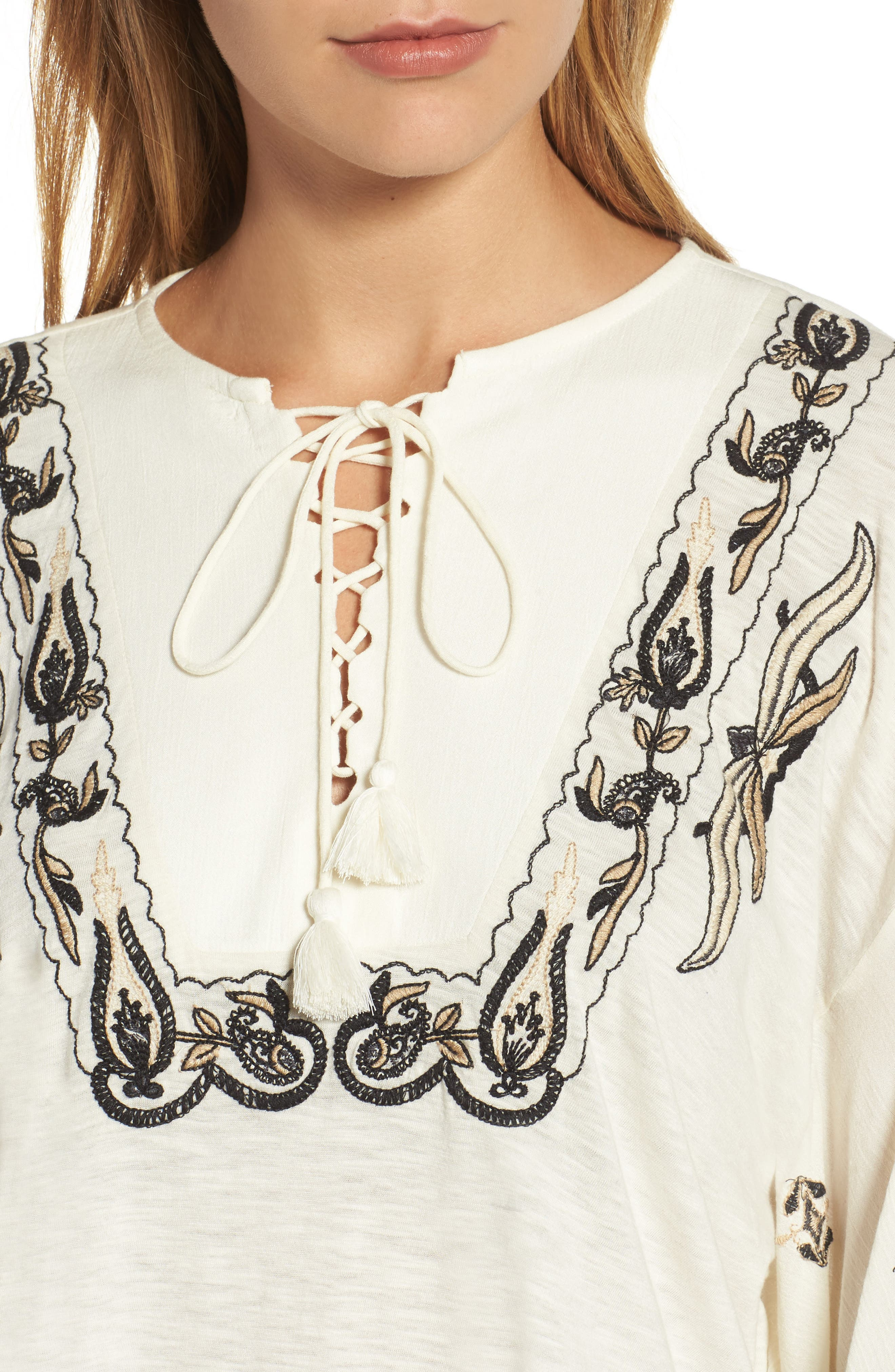 Embroidered Lace Up Peasant Top,                             Alternate thumbnail 8, color,