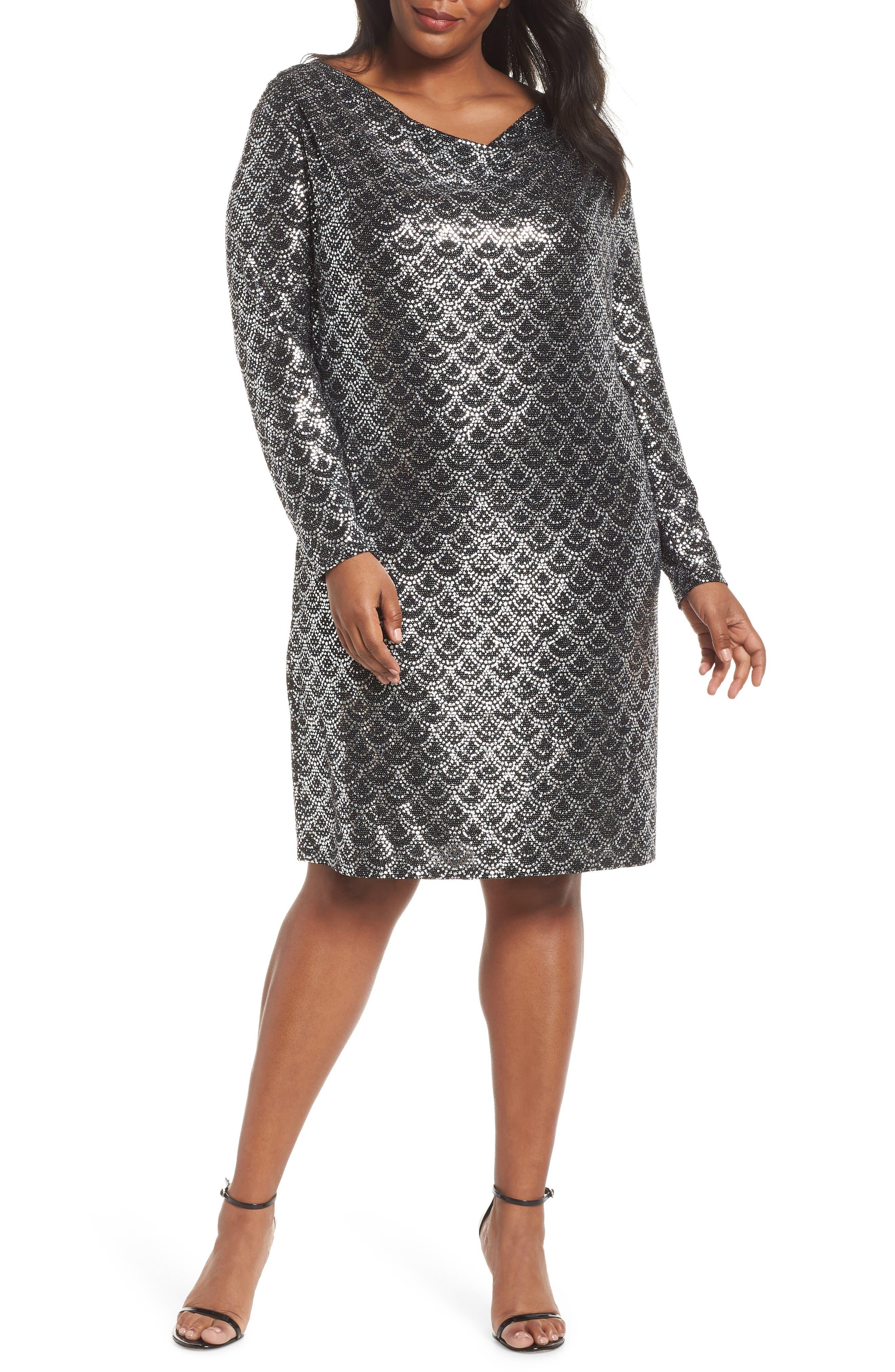 Glitter Knit Shift Dress,                             Main thumbnail 1, color,                             001