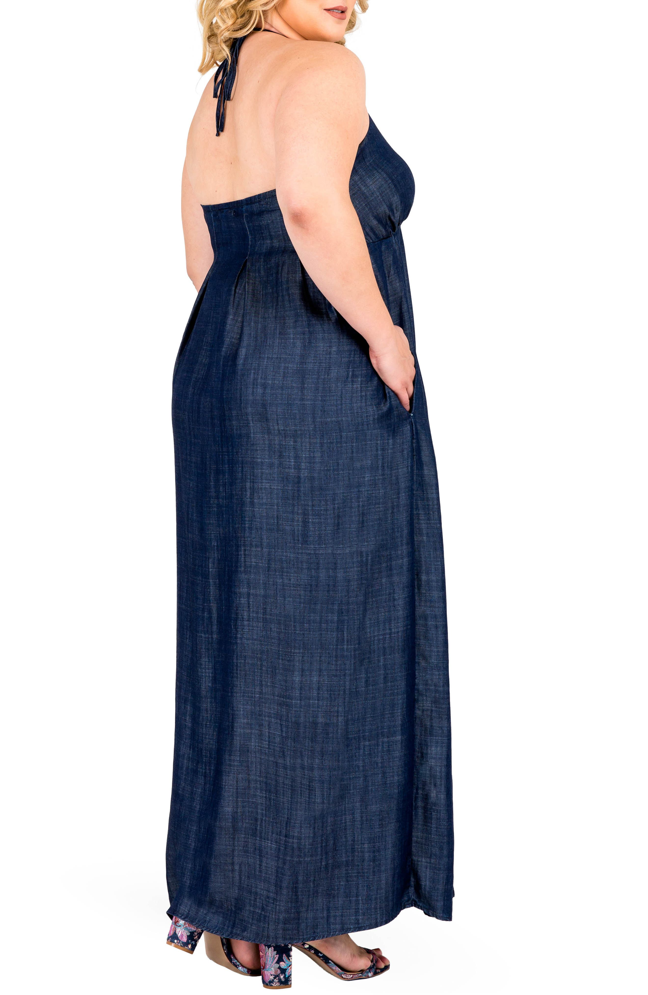 Maui Maxi Chambray Halter Dress,                             Alternate thumbnail 3, color,                             DARK BLUE