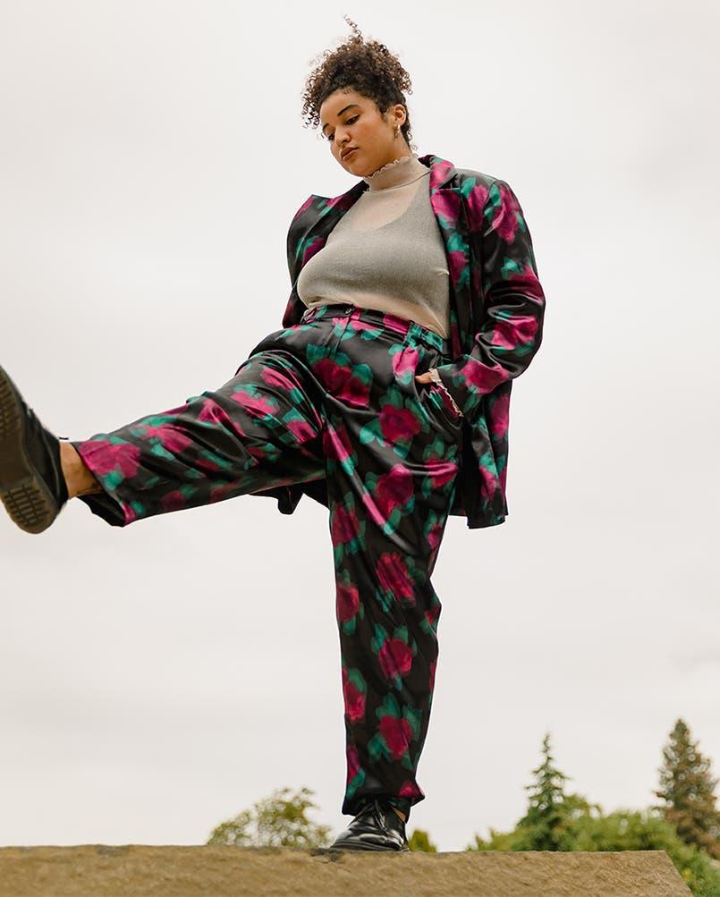 Model wearing a BP. + WILDFANG blazer, top and pants.