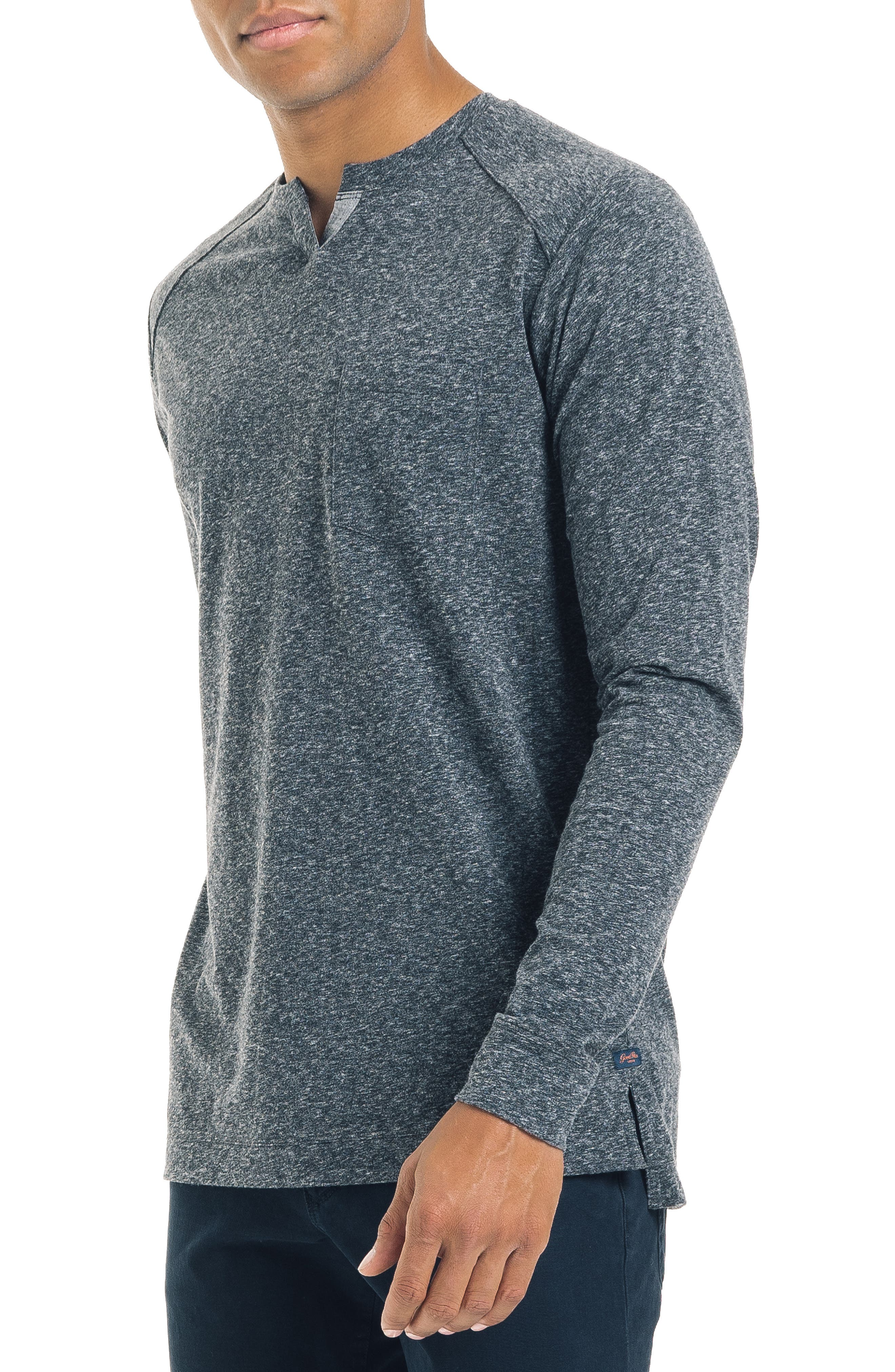 Slim Fit Notched Long Sleeve T-Shirt,                             Alternate thumbnail 3, color,                             CHARCOAL HEATHER