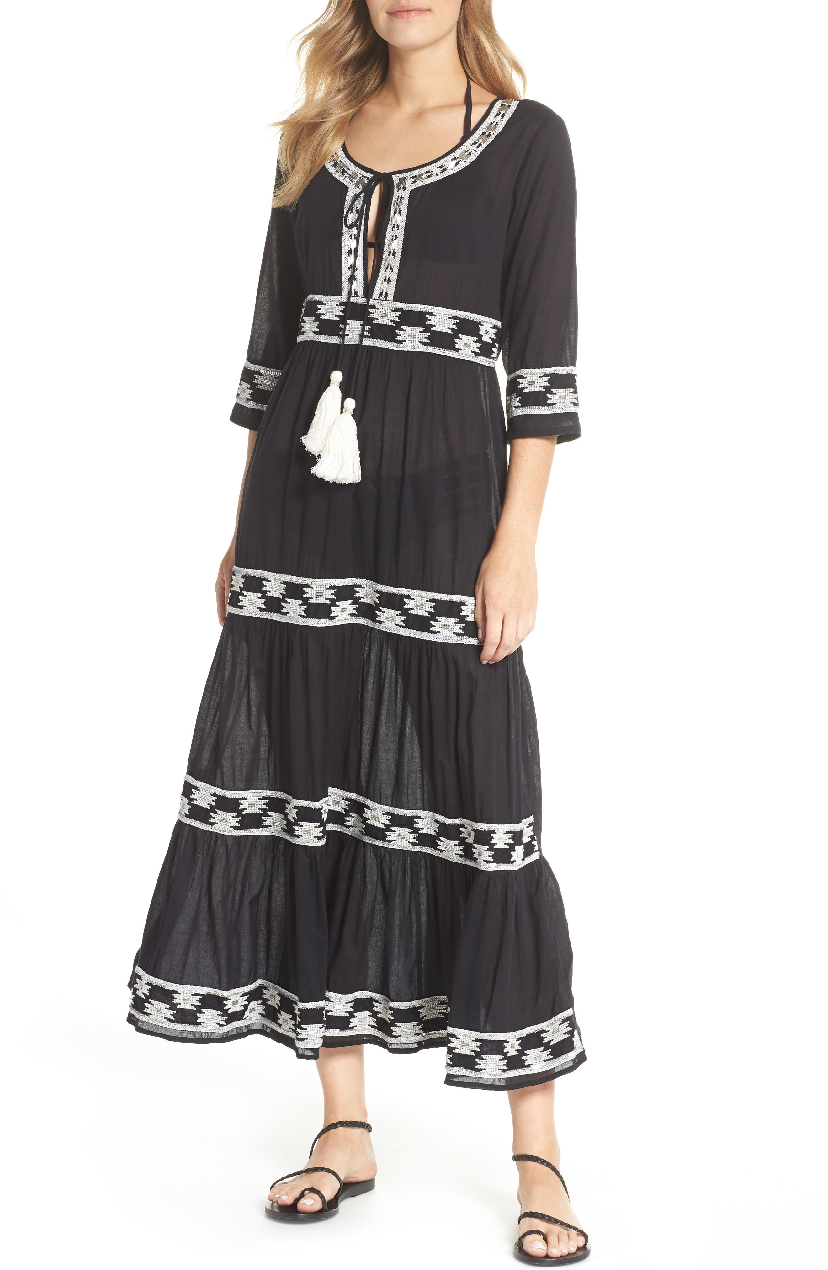 MUCHE ET MUCHETTE Embroidered Cover-Up Dress in Black/ White