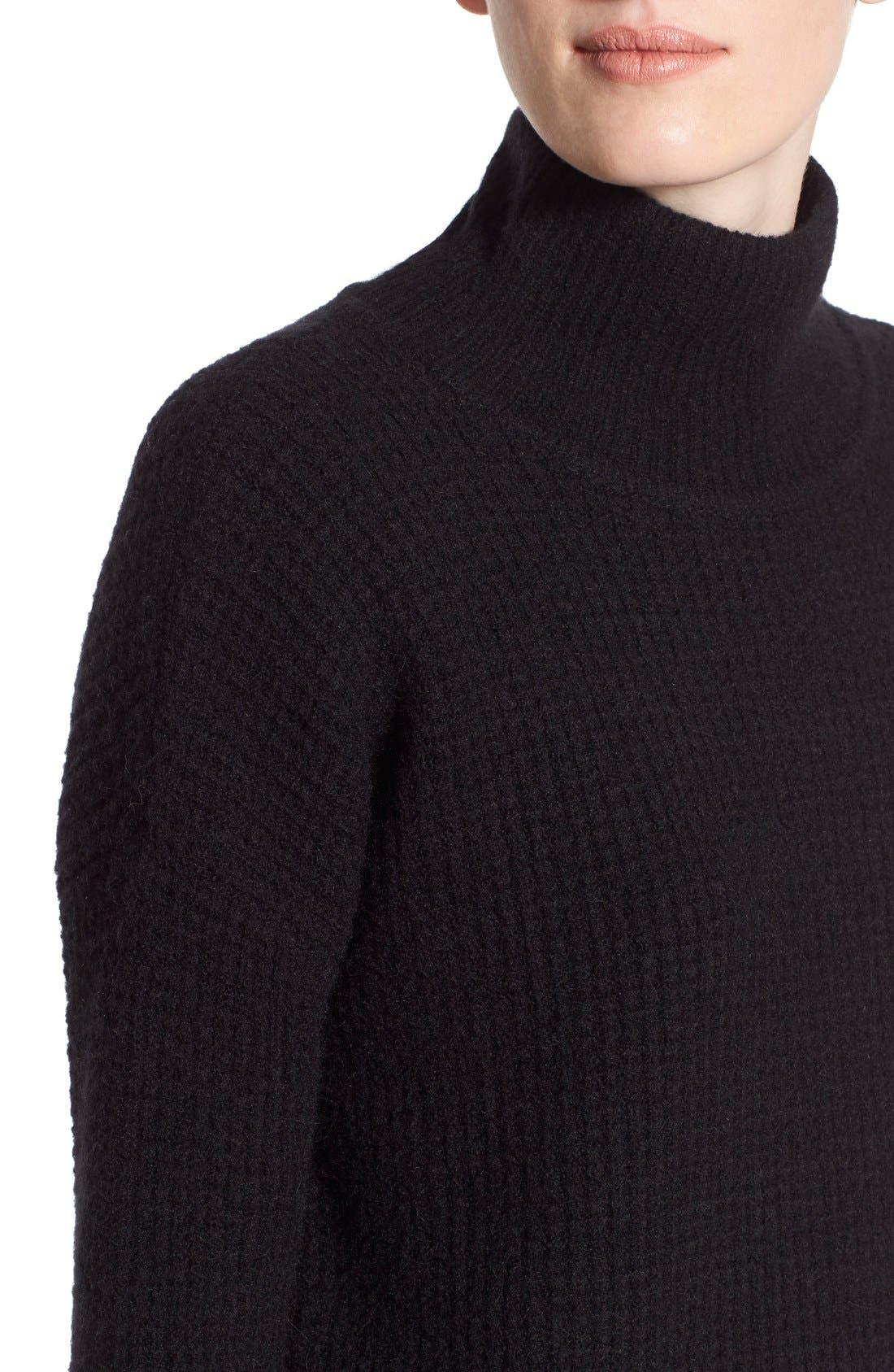 Wafflestitch Turtleneck Sweater,                             Alternate thumbnail 5, color,                             001