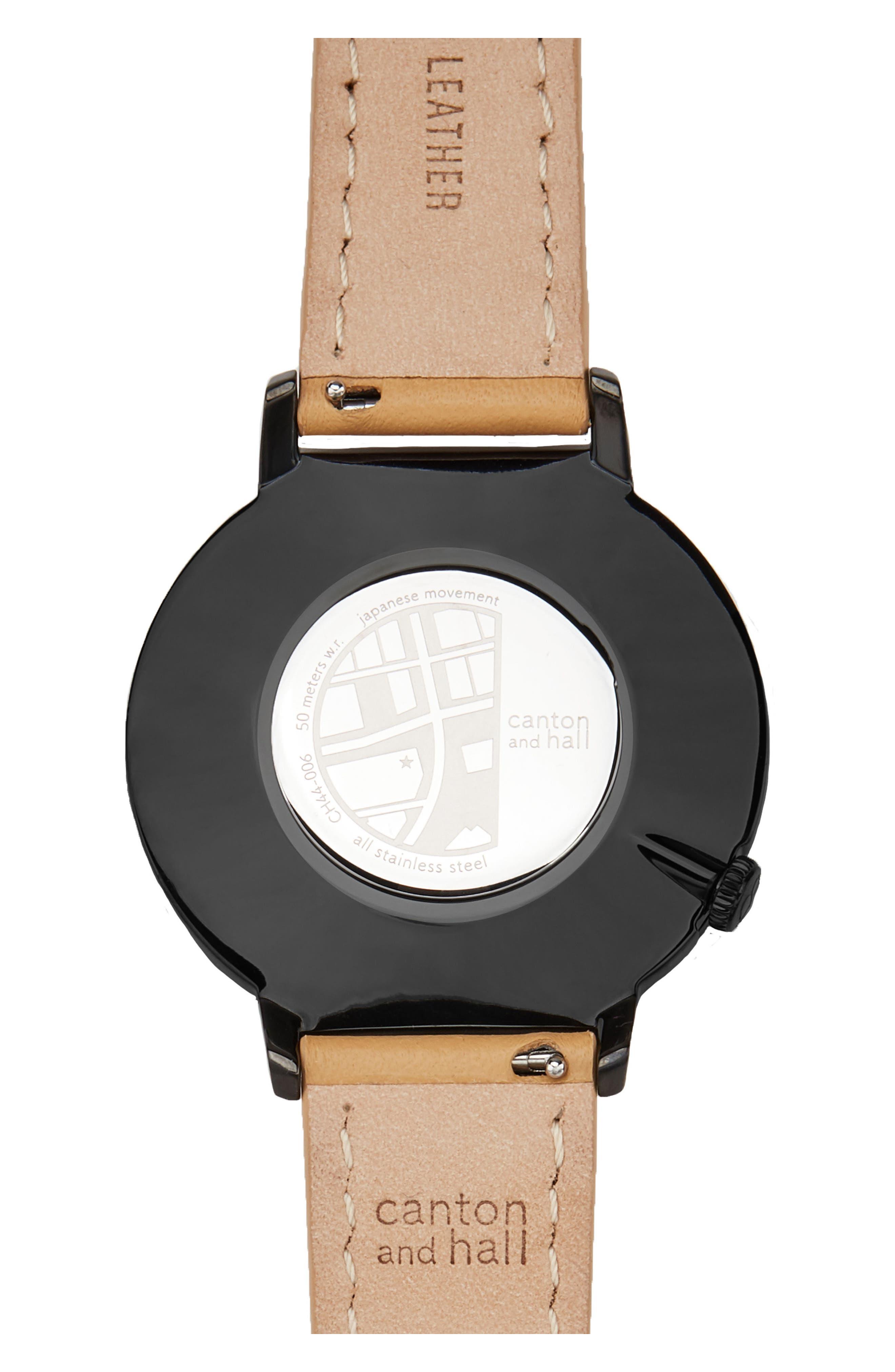 Davis Leather Strap Watch, 44mm,                             Alternate thumbnail 2, color,                             BLACK/ CAMEL
