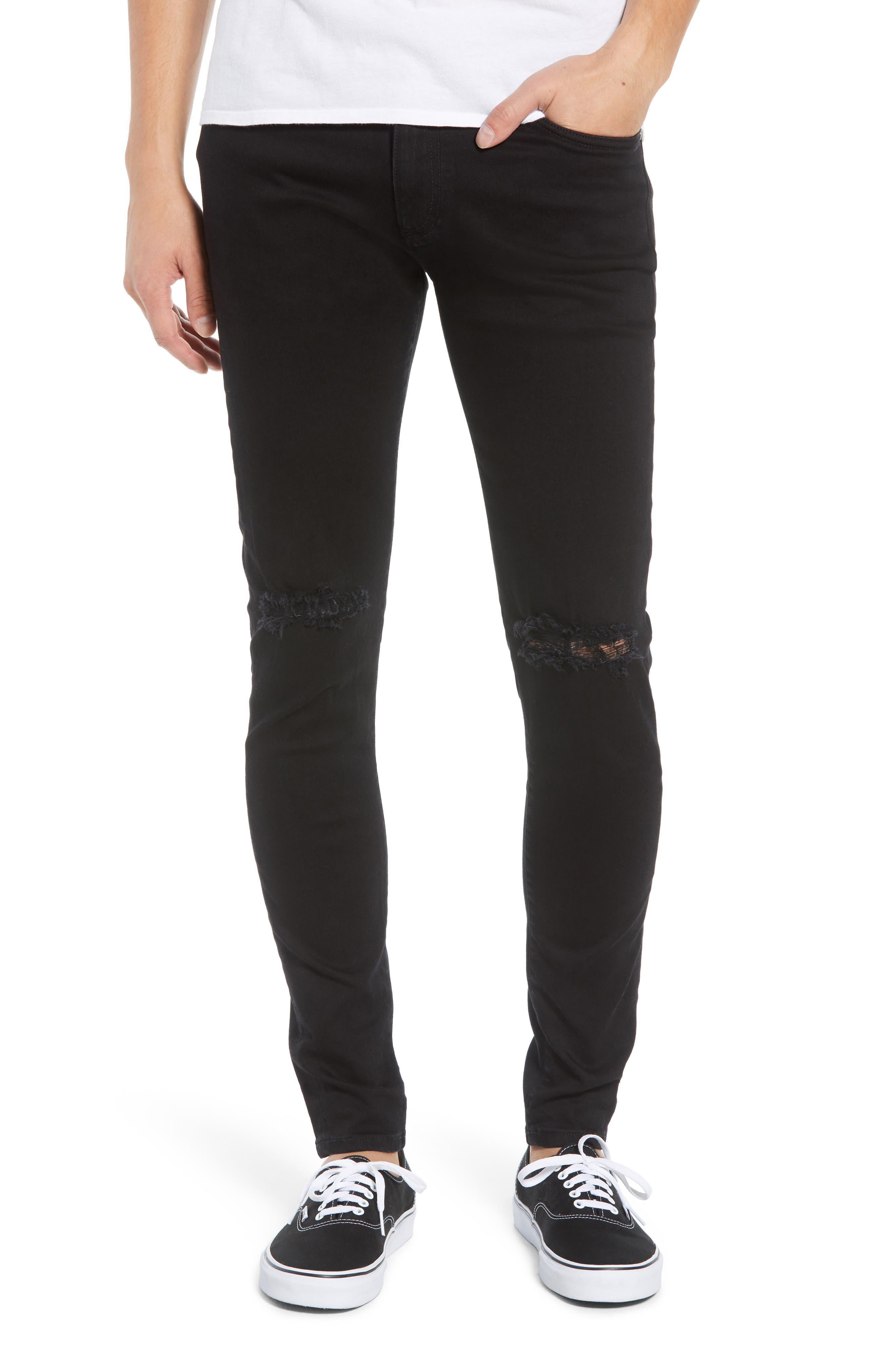 Destroyer Ripped Slim Fit Jeans,                             Main thumbnail 1, color,                             BLACK