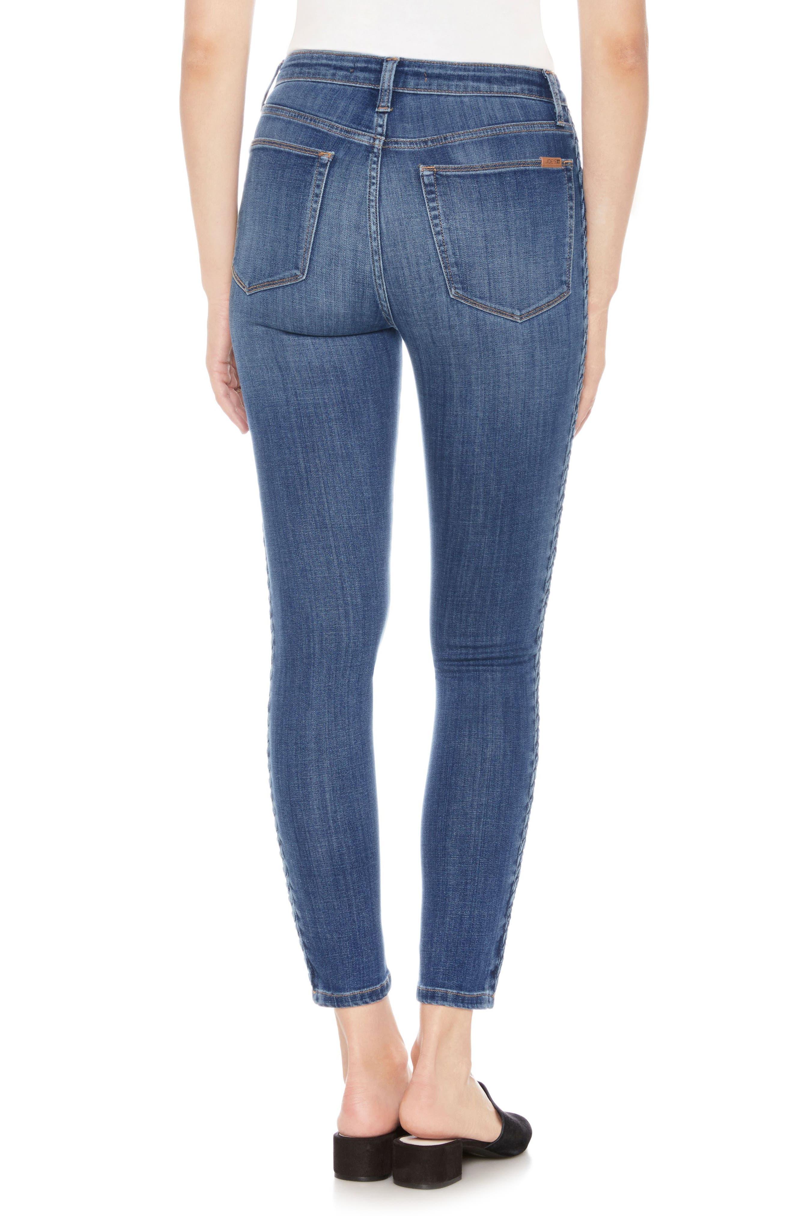 Charlie Braid High Waist Ankle Skinny Jeans,                             Alternate thumbnail 2, color,                             415