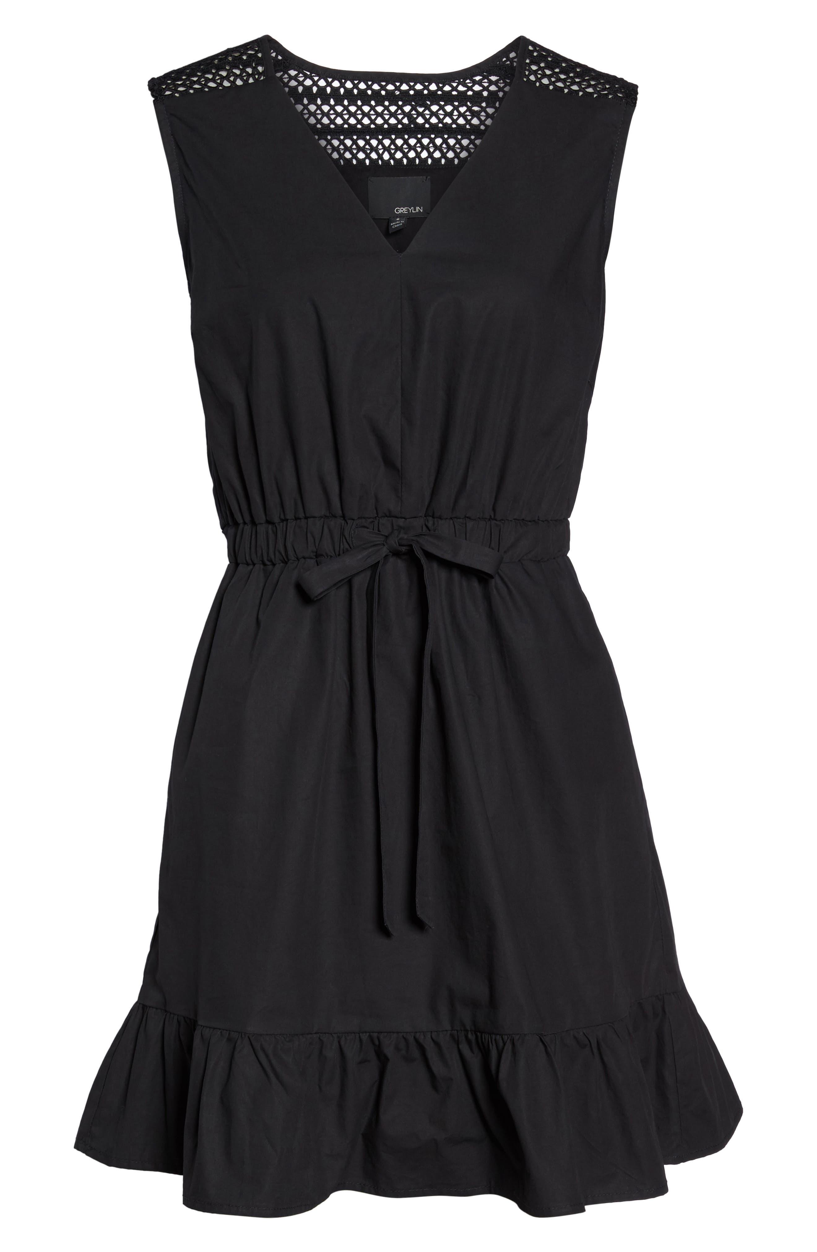 Leah Lace Trim A-Line Dress,                             Alternate thumbnail 6, color,                             001