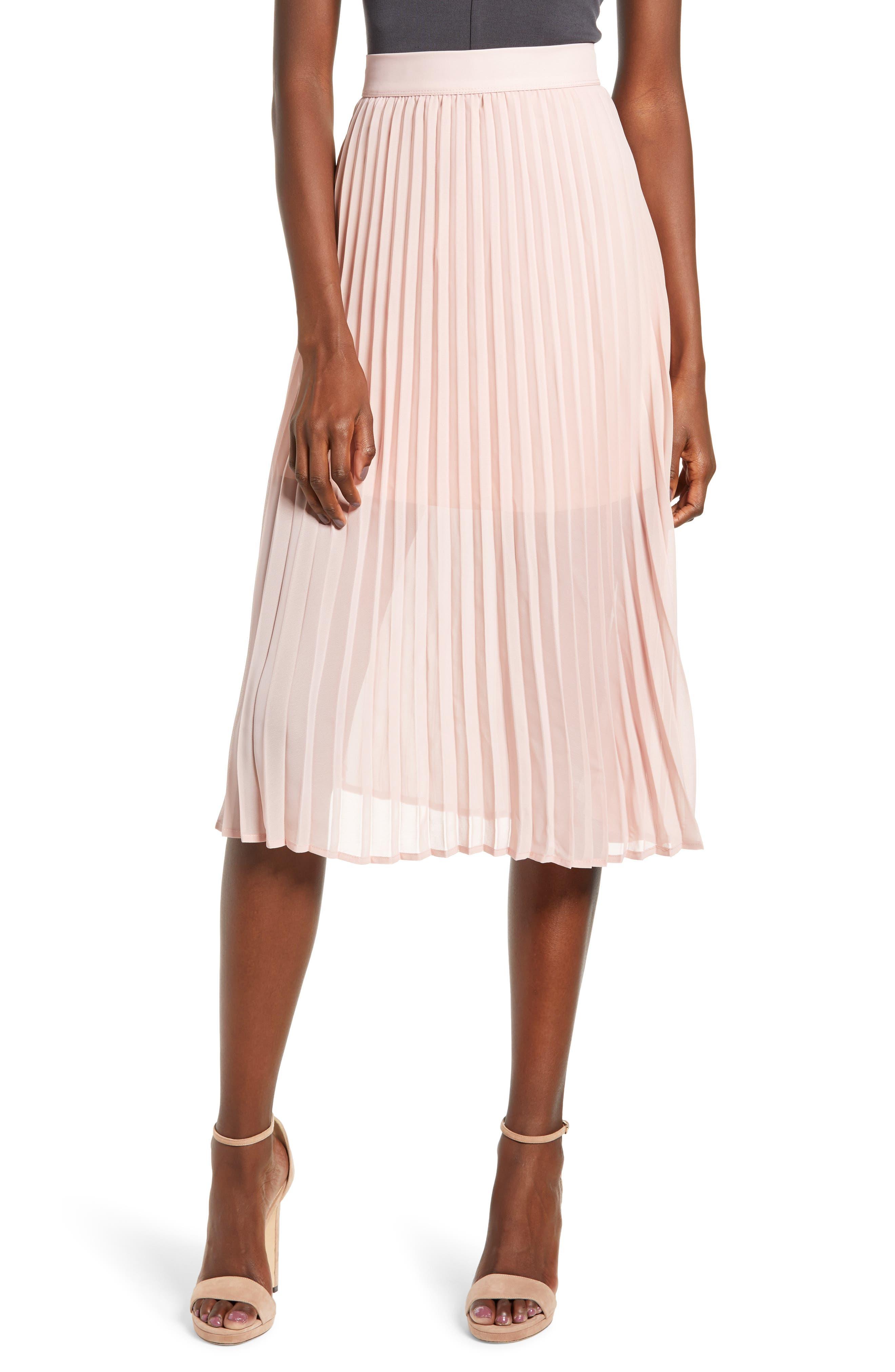 Love, Fire Pleated Georgette Midi Skirt, Pink