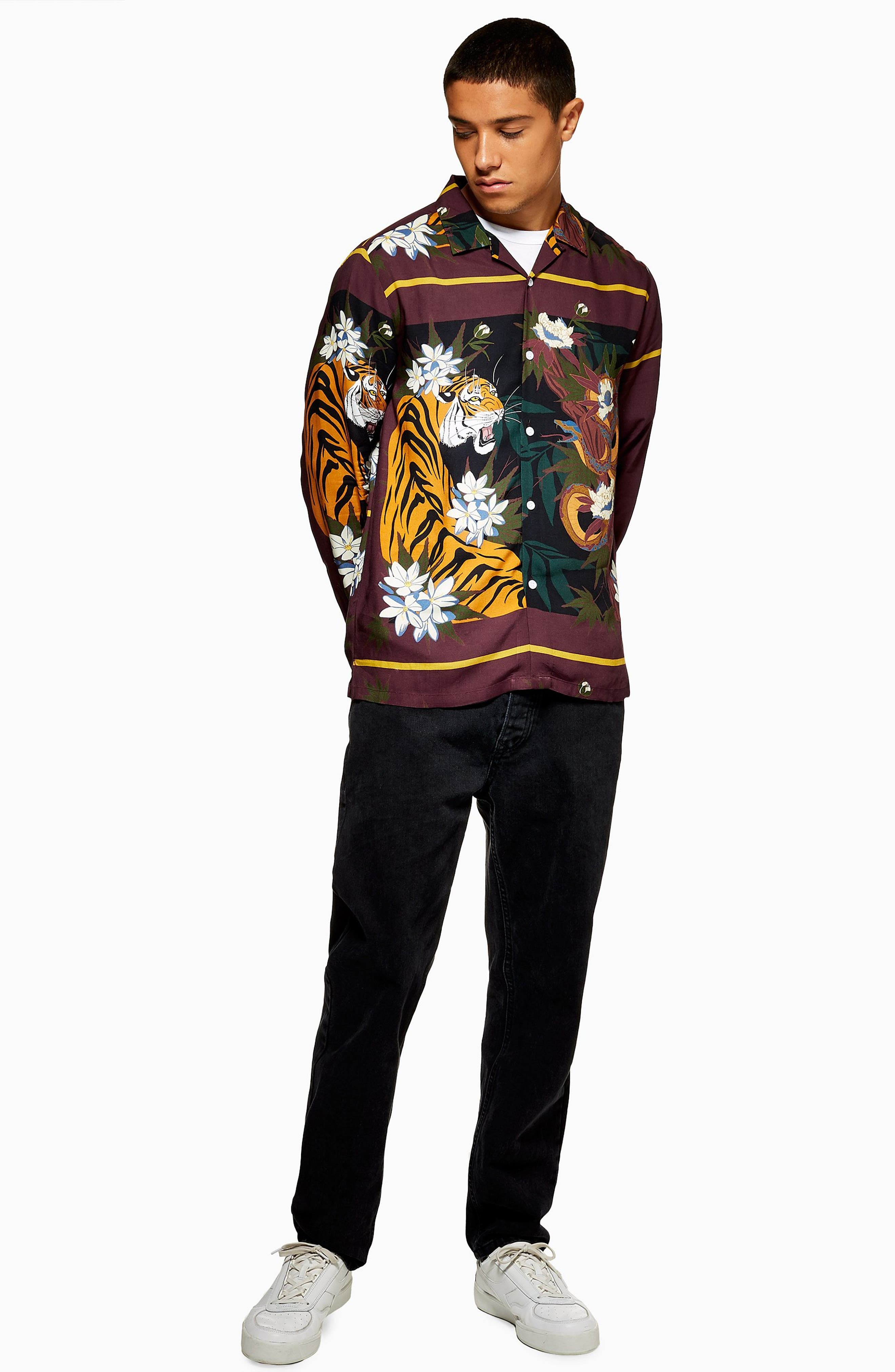 Tiger Snake Print Shirt,                             Alternate thumbnail 4, color,                             BURGUNDY MULTI