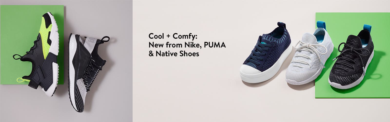 Cool + comfy: new boys' shoes from Nike, Puma and Native Shoes.